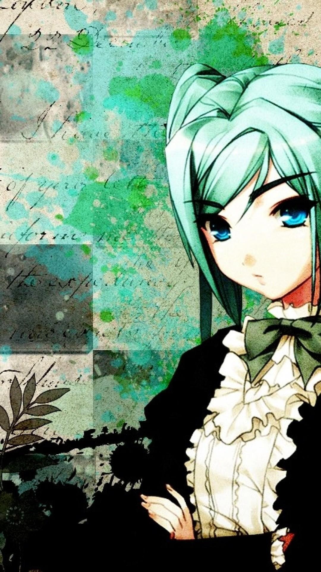 Anime Girl Green Hair Cross