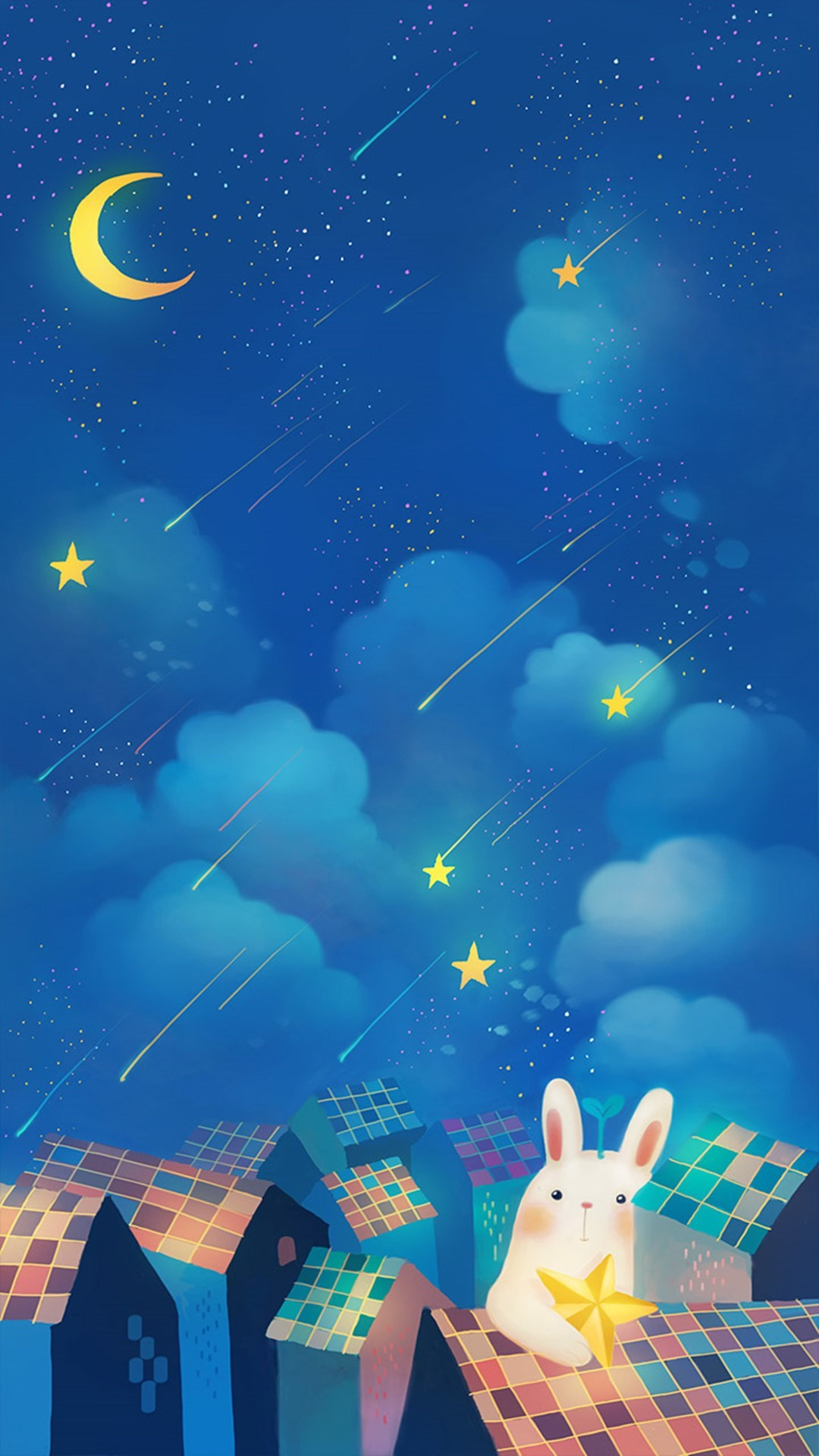 <b>Romantic Night Moon Star Clouds Sky Rabbit House Top wallpaper</b