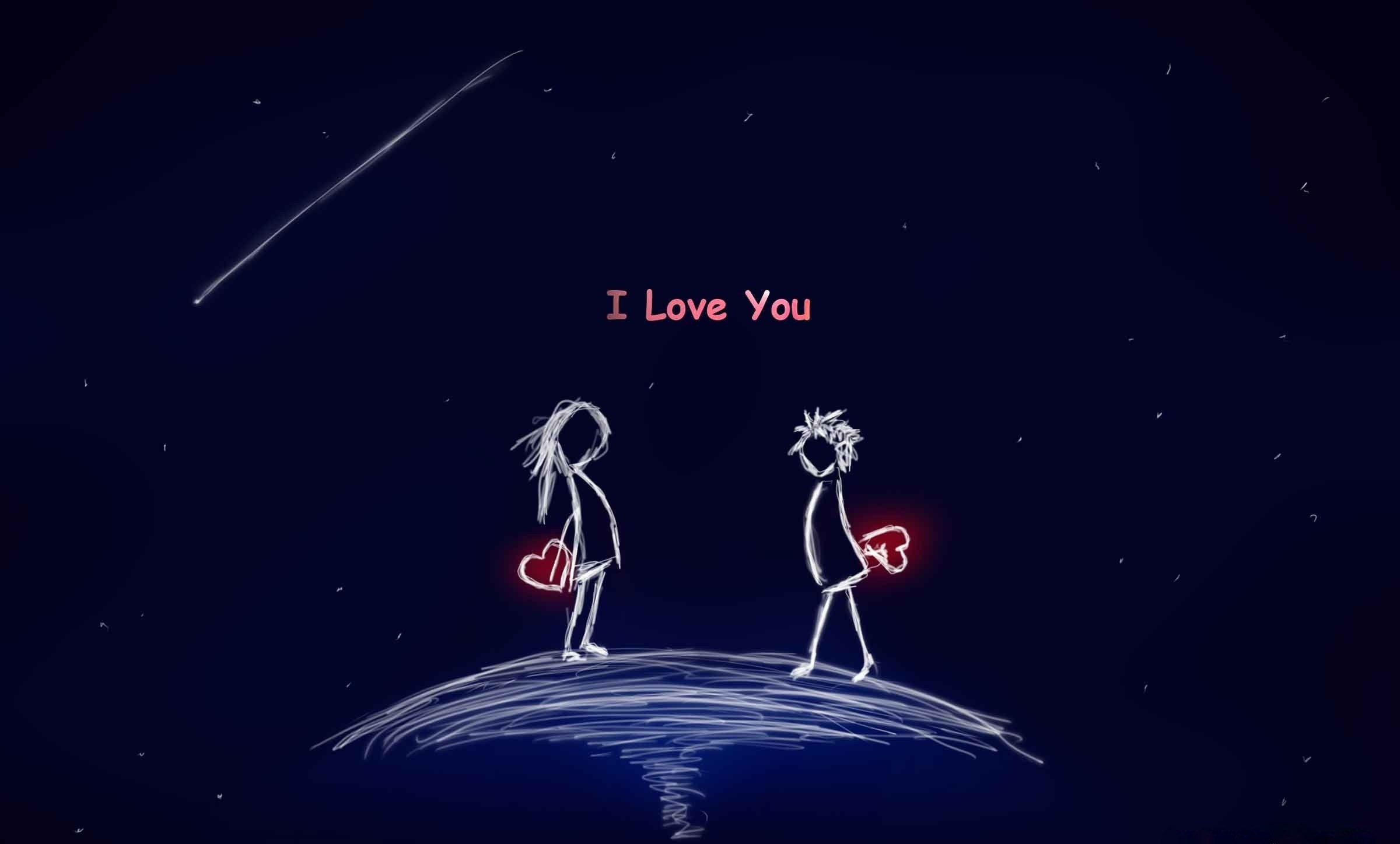i love you cartoon couple wallpaper background