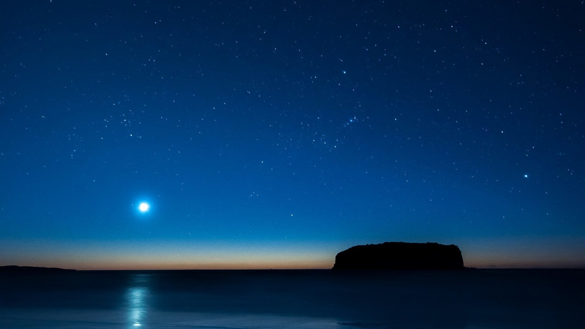Moonlight Blue Ocean Stars Night Free Animated Nature Wallpapers For Mobile  – 1920×1200