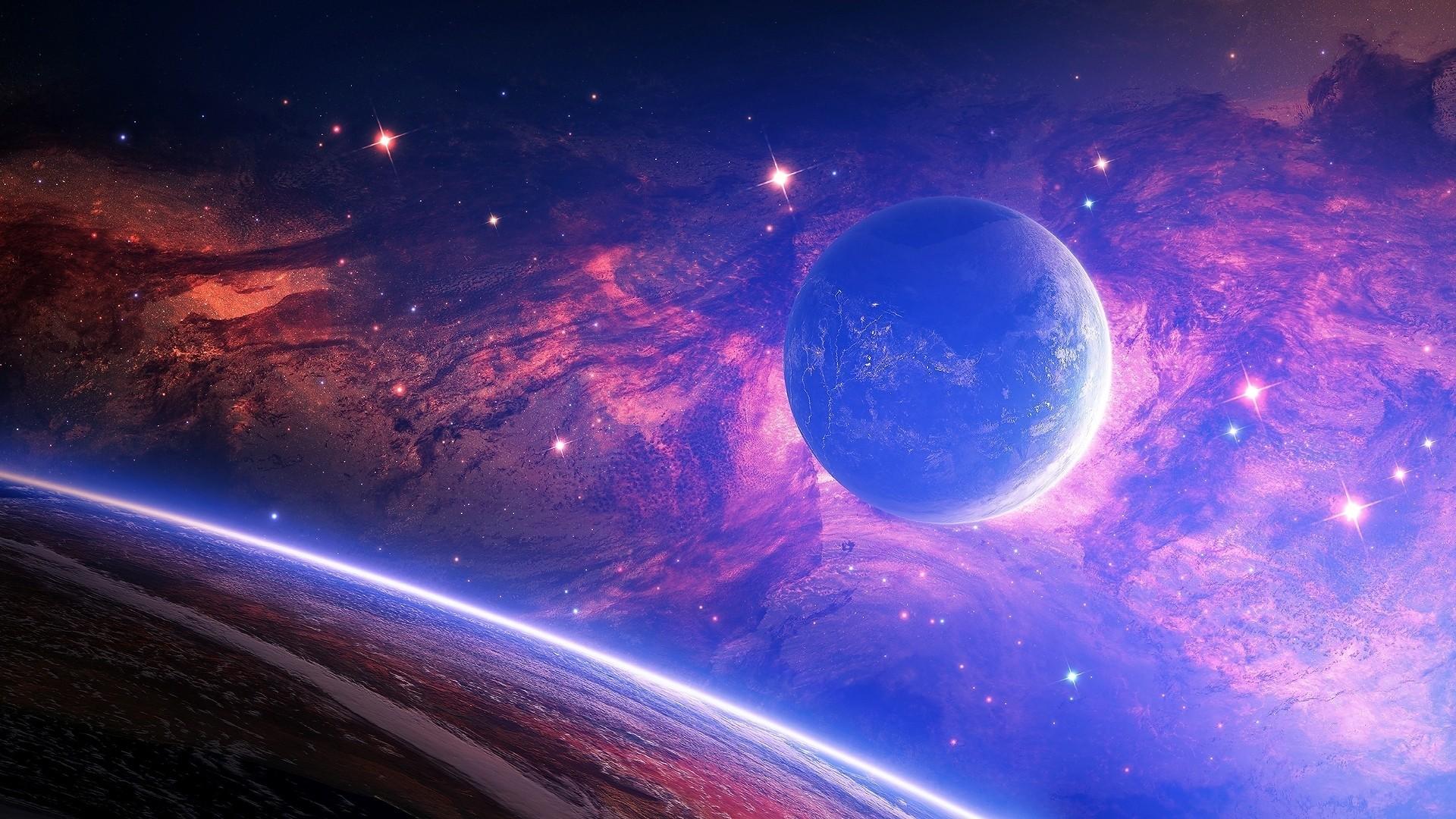 Preview wallpaper planet, light, spots, space 1920×1080