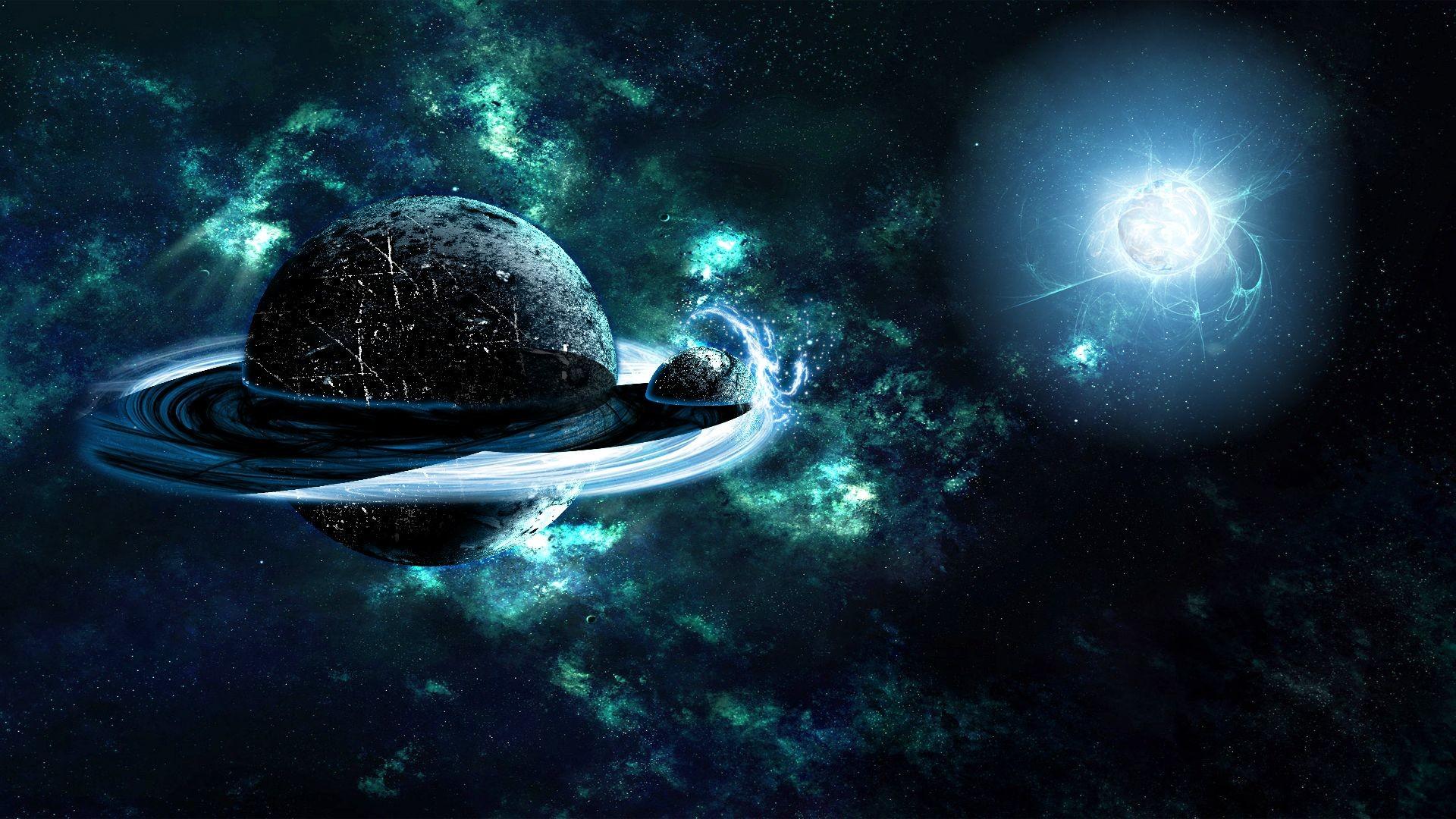 Saturnus and Titan Space HD Wallpaper