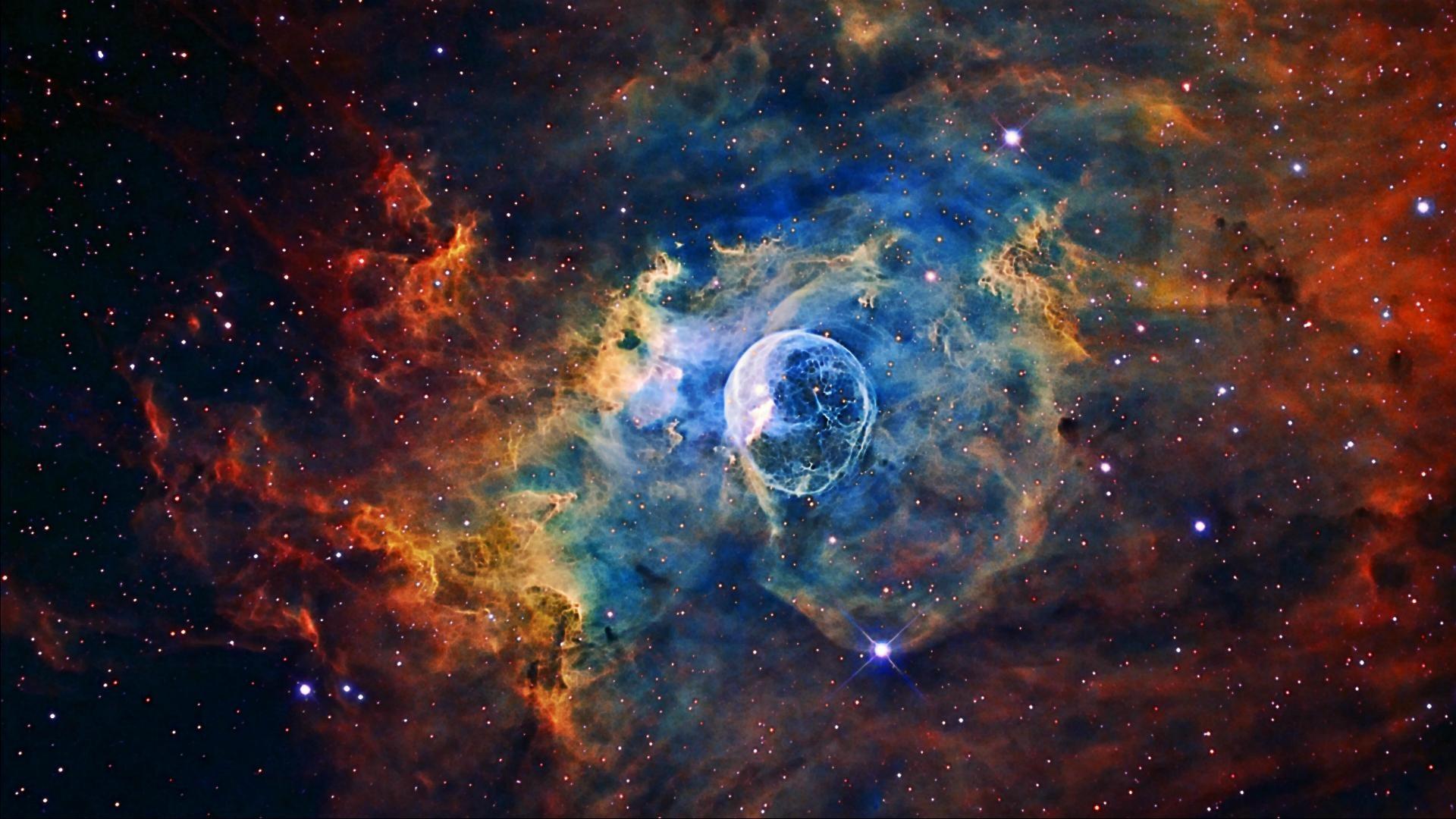 Stellar Bubble Nebula Image for Hubble's 26th Anniversary .