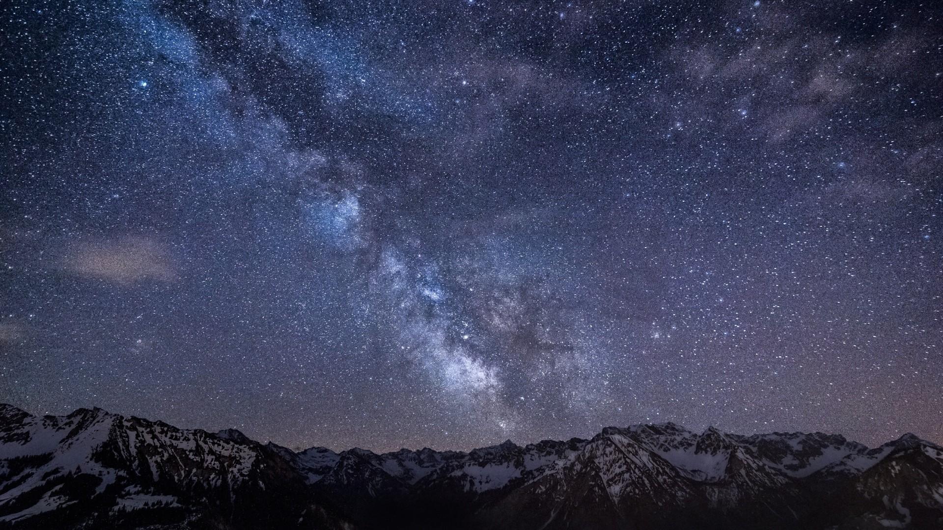Milky way stars mountains night germany bavaria sky backgrounds 1920×1080.
