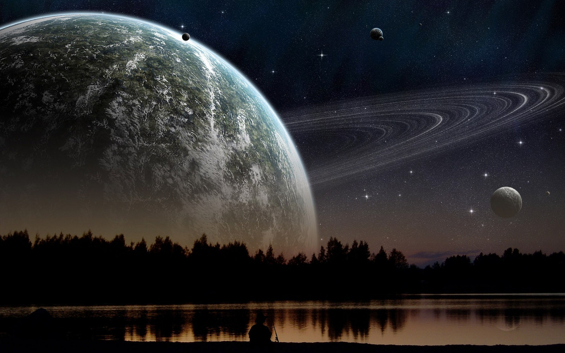 Preview gas giant in night sky in view from lake shore