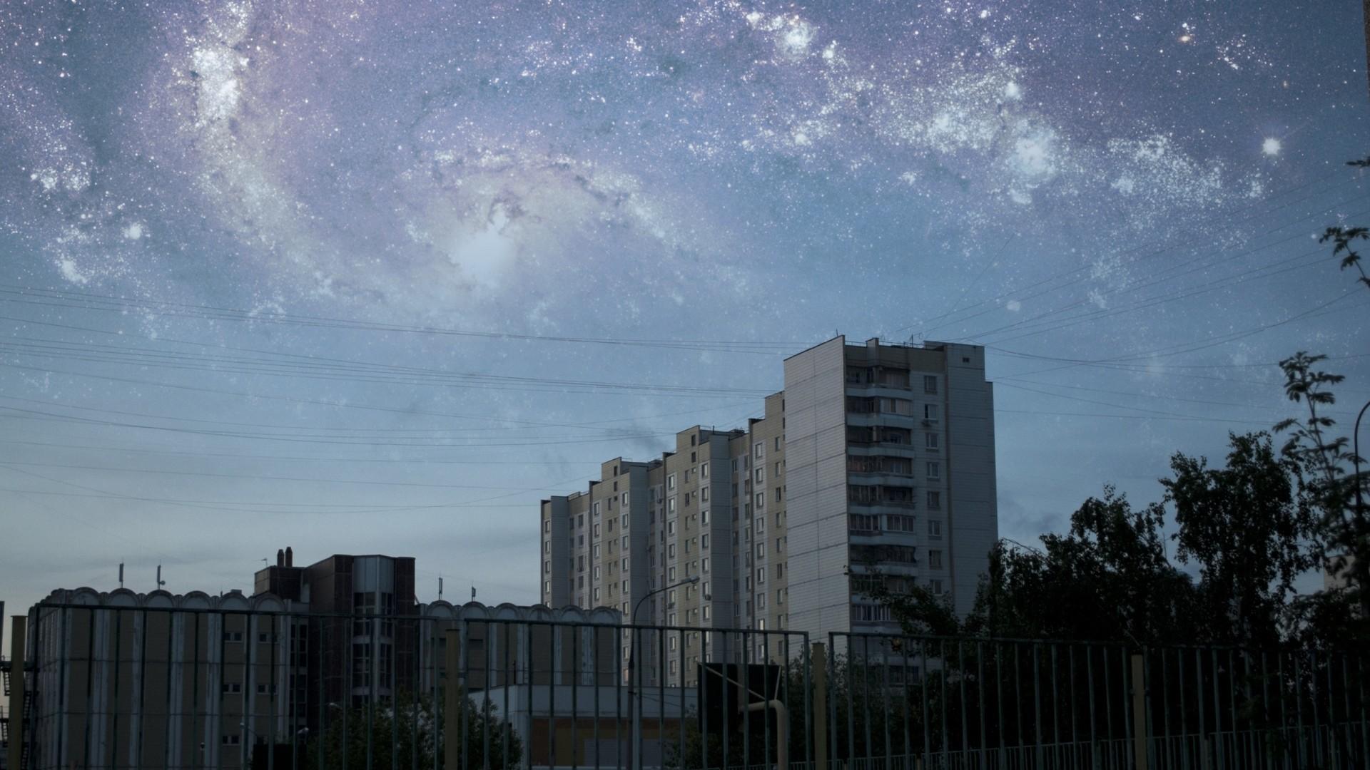 Wallpaper city, sky, photoshop, stars