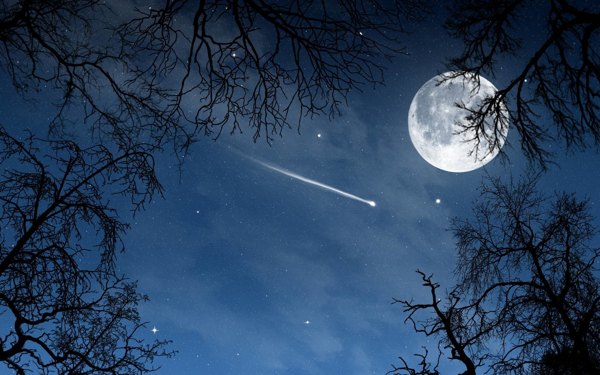 Moon and Stars, Beautiful night sky with full moon, stars and a .