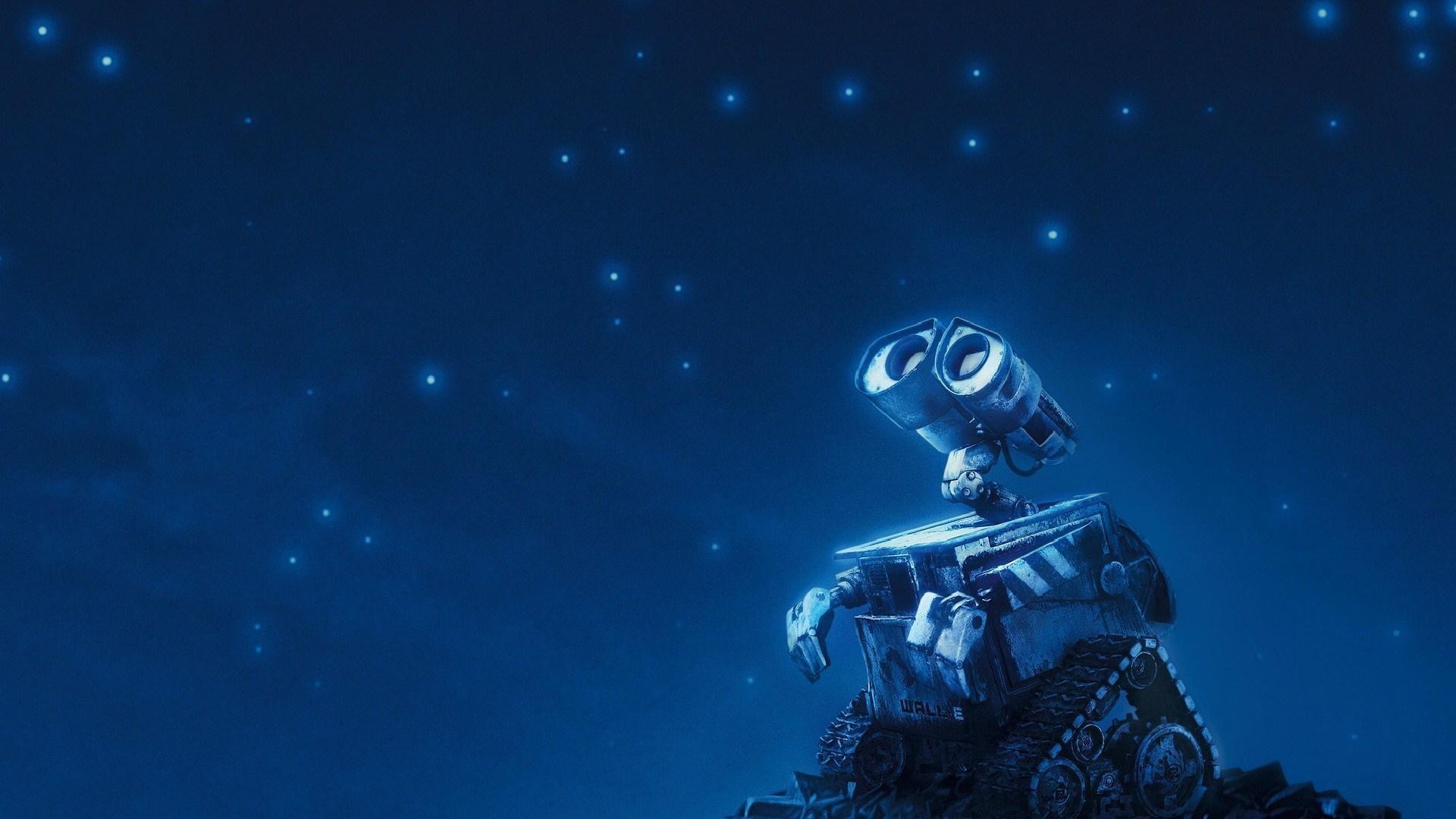 Wall-E Robot Night Stars Sky Animated Cartoon