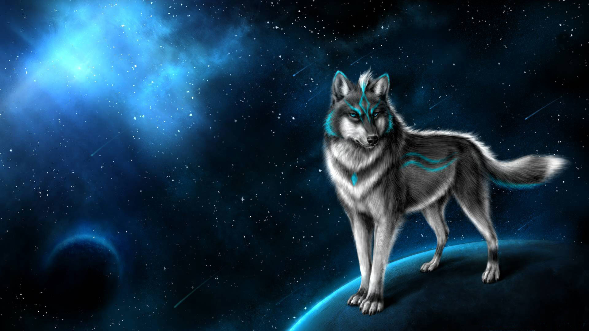 Hd Pics Photos Attractive Best Fox Animated Neon Blue Light Nebula Stars Planet Hd Quality Desktop