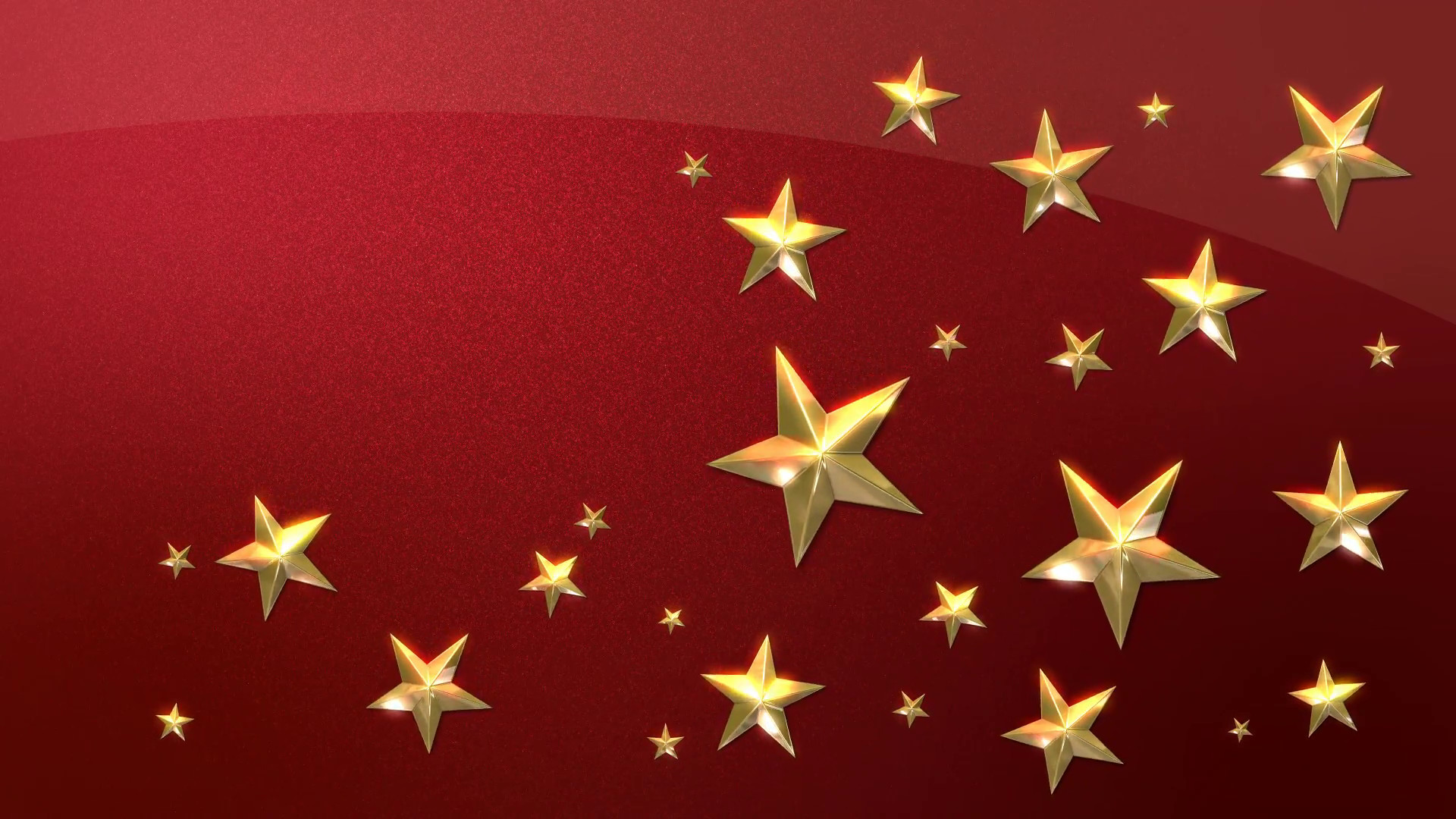 Subscription Library Looping Animation of Festive Gold Stars on a Sparkling  Red Background