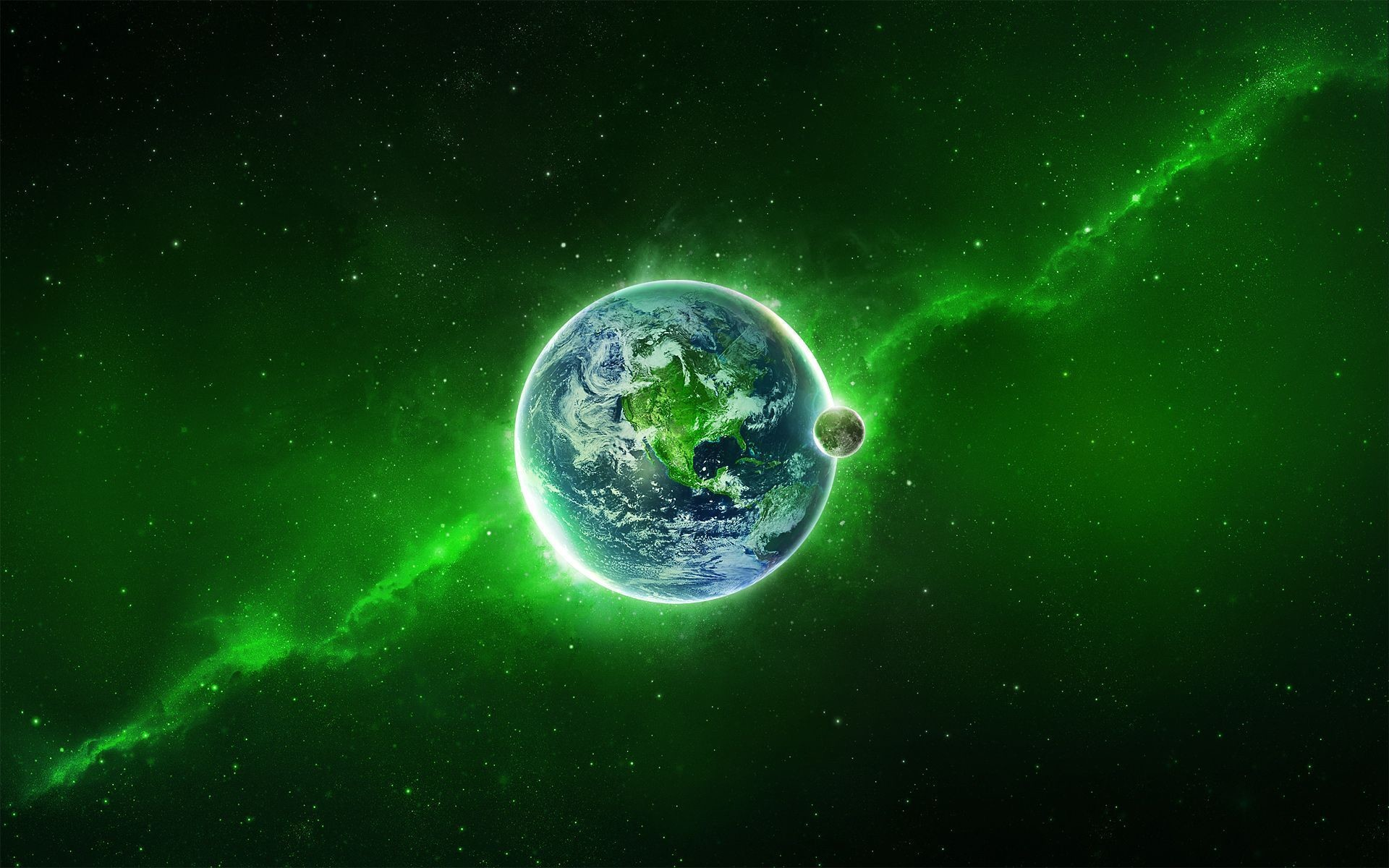 Full HD Wallpapers + Green, Space, Planets, Stars, Earth