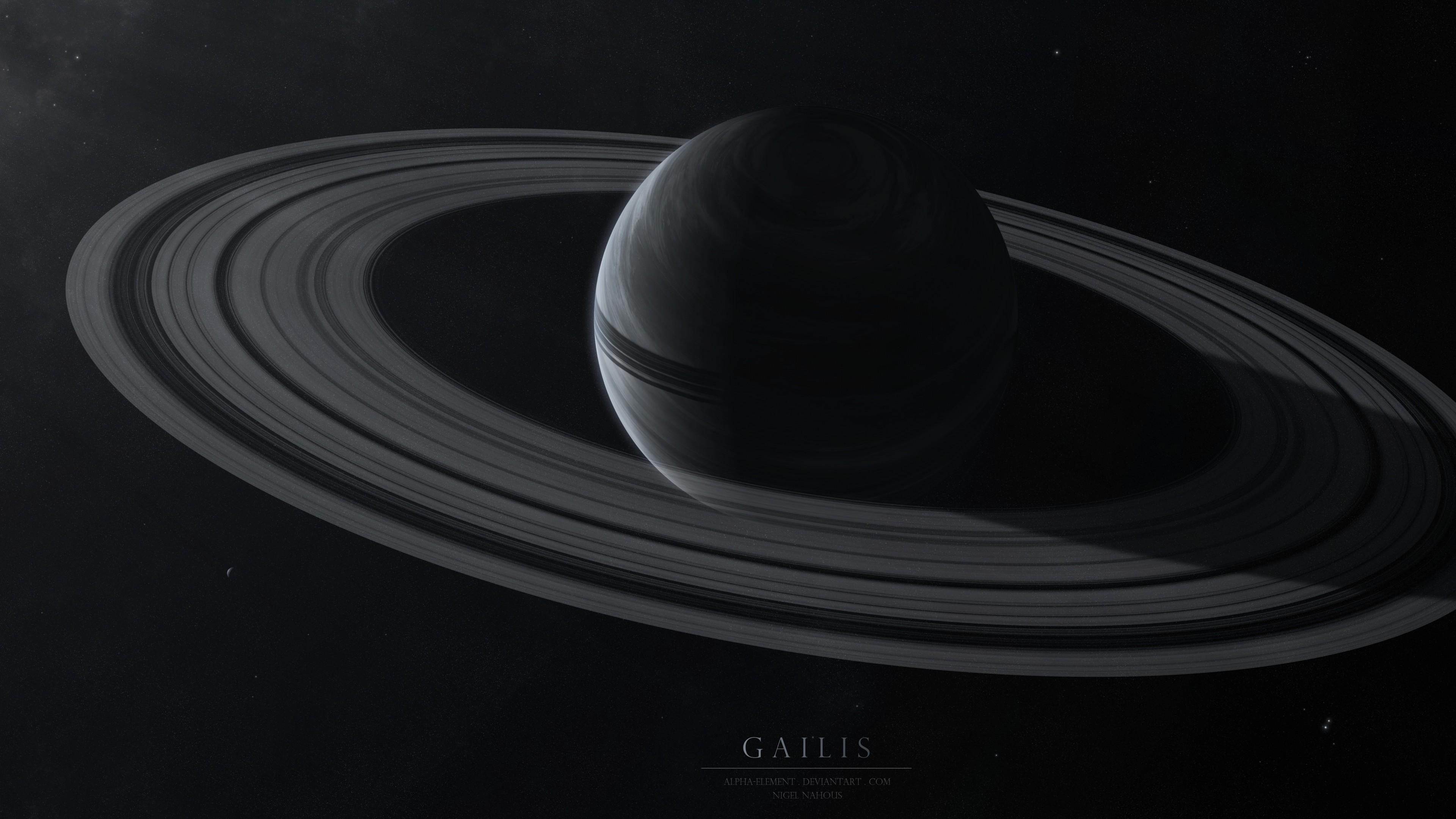 Preview wallpaper gailis, planet, rings, stars, space 3840×2160