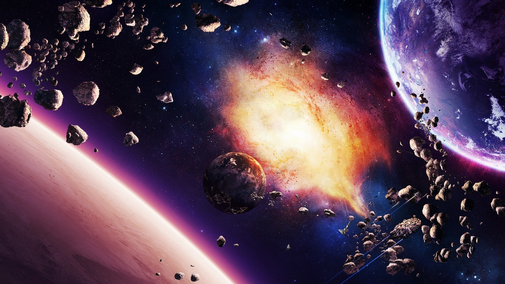 Wallpaper space, planet, explosion, light