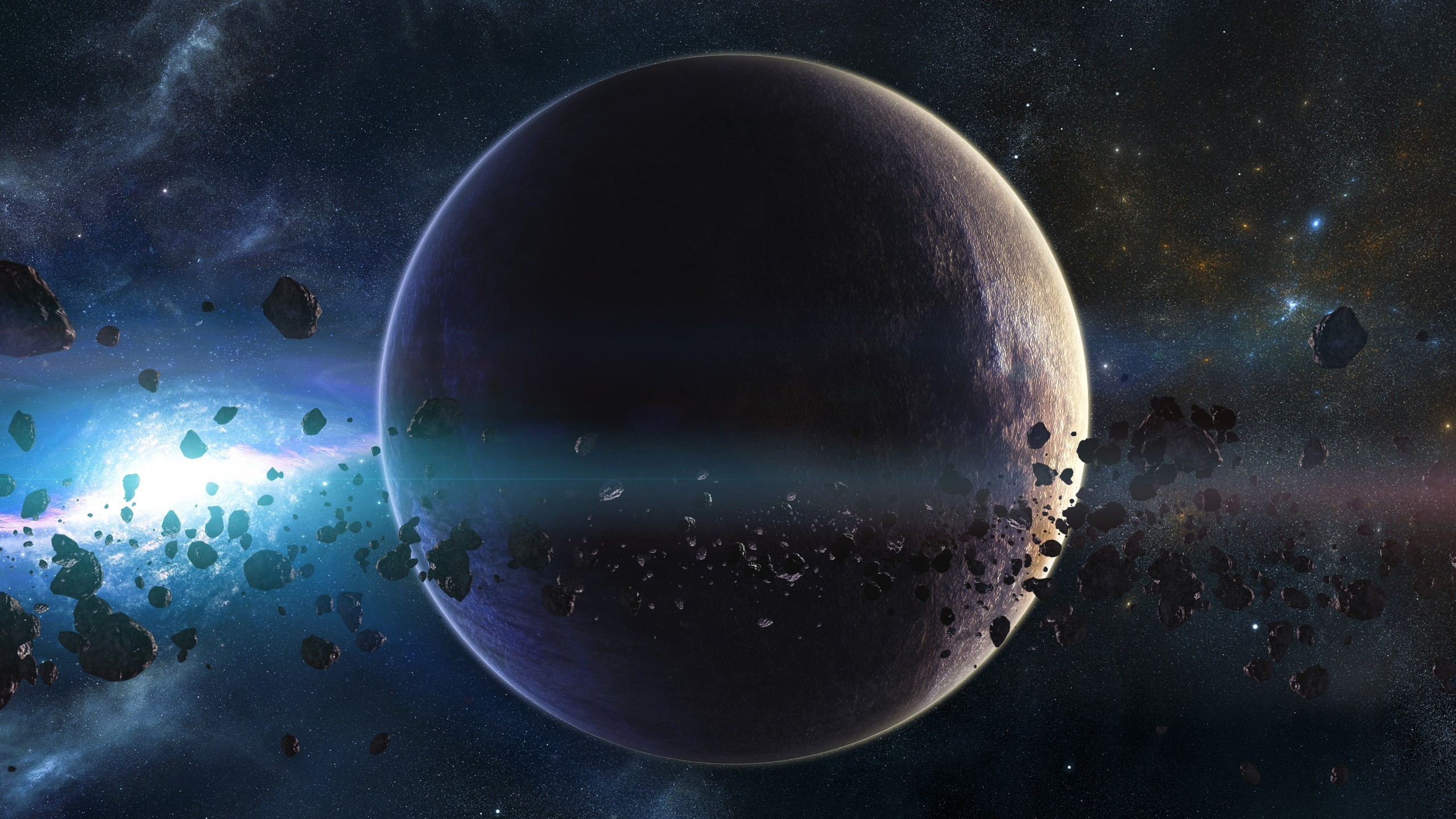 Preview wallpaper space, planets, asteroids, stars, belt, galaxy 2560×1440