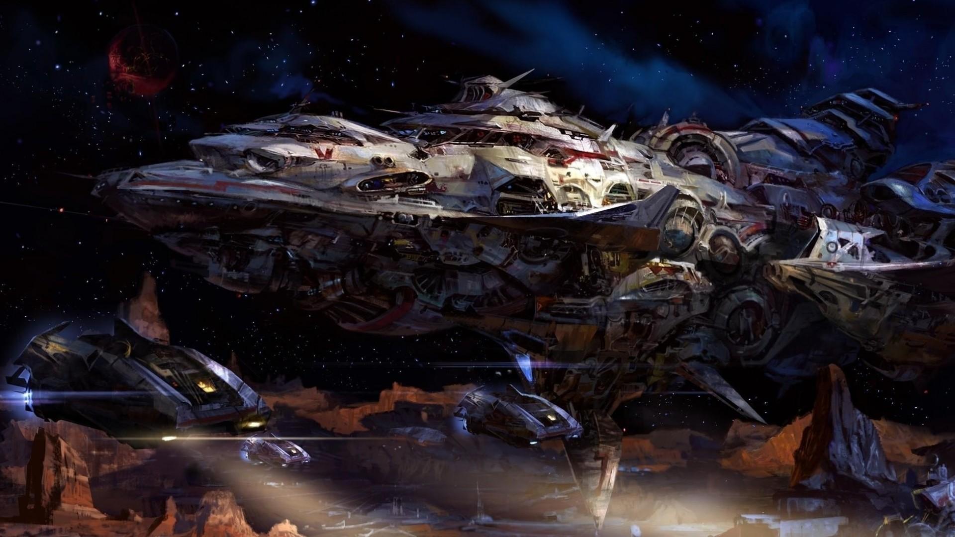Wallpaper space, planet, ship, spaceship