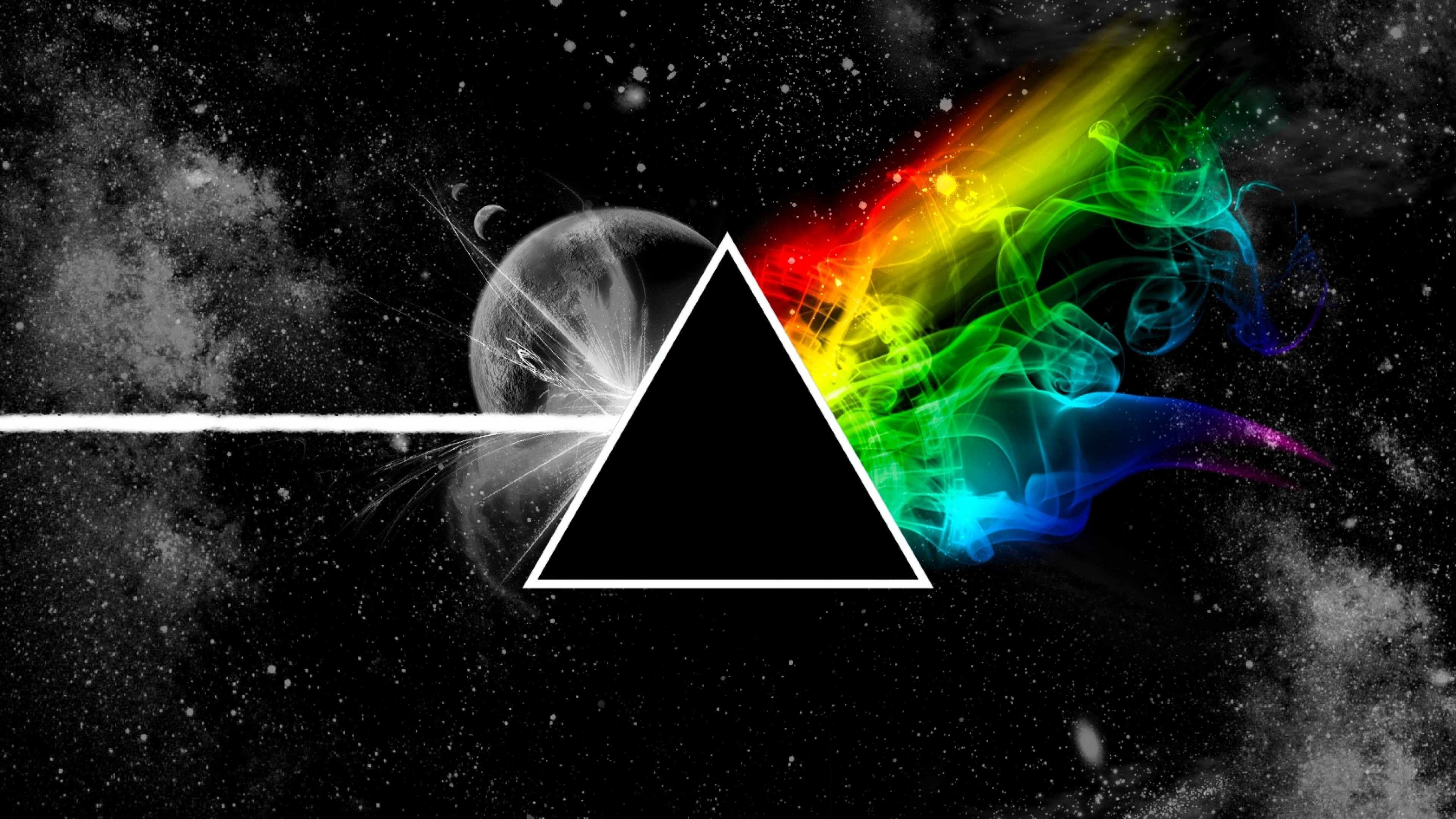 Wallpaper pink floyd, triangle, space, planet, colors
