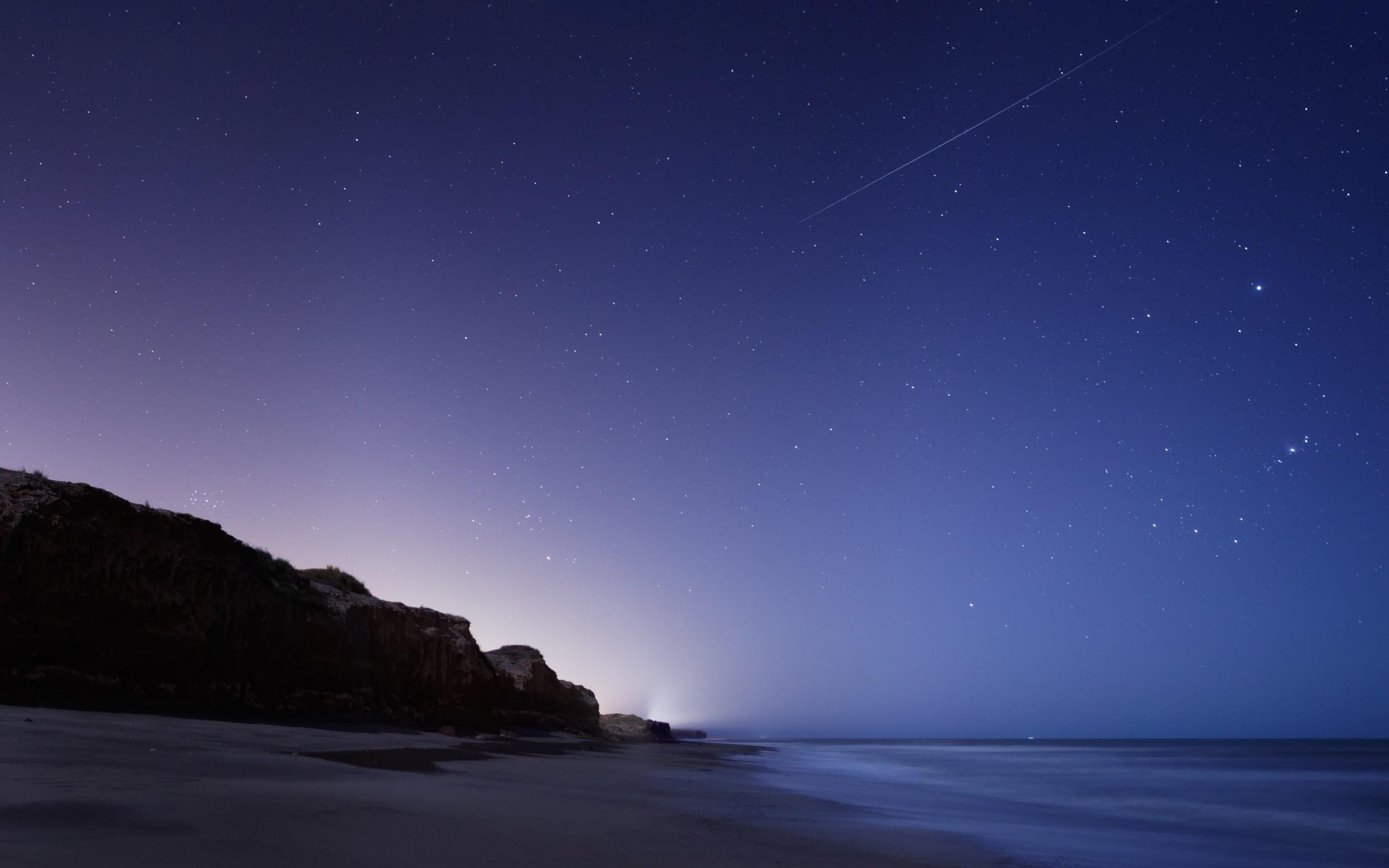 Wallpaper Stars, Night, Twilight, The sky, Falling, The sea, The rock