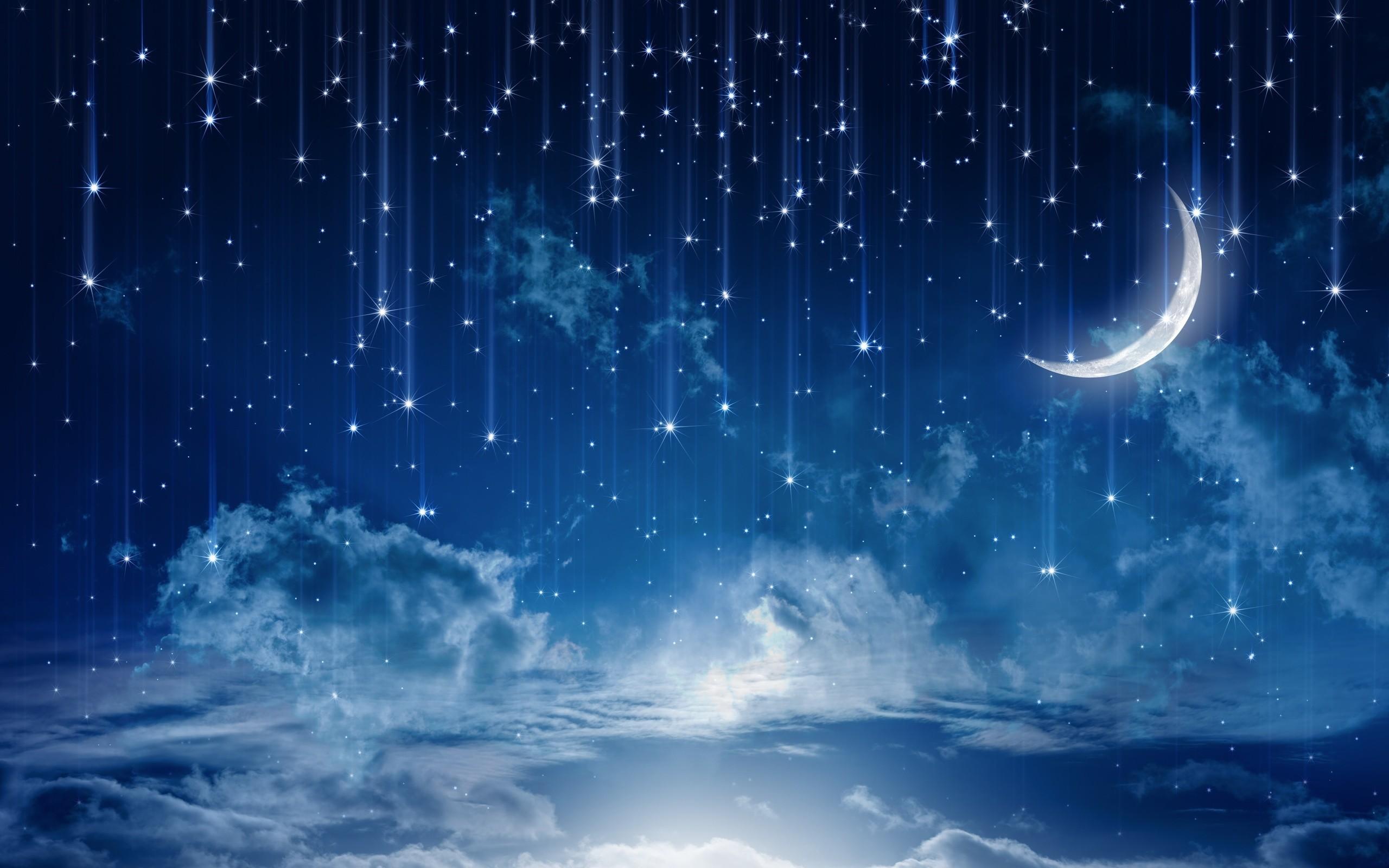 nature night stars clouds rain landscape moon wallpaper background .