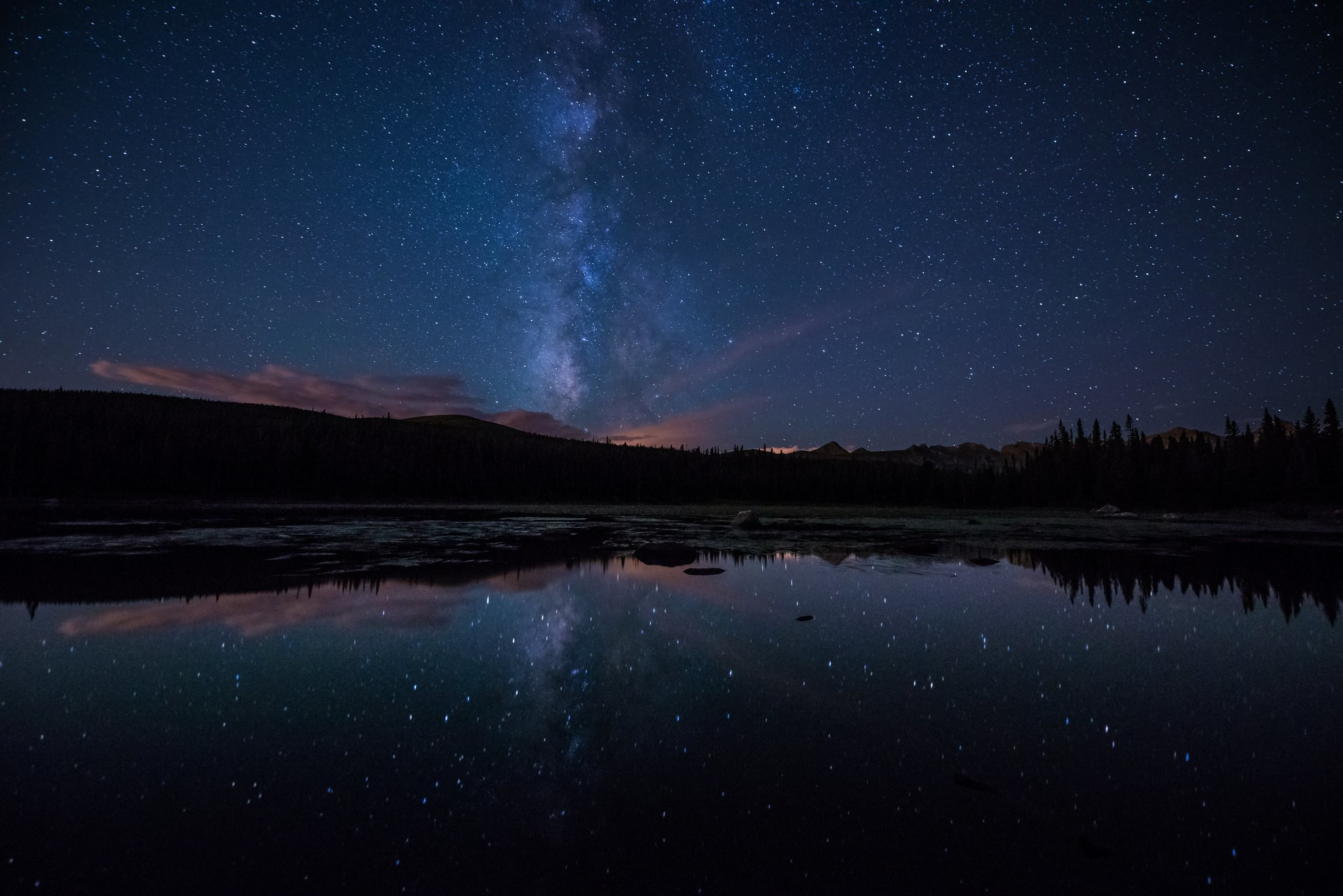 milky way stars forest lake night wallpaper background