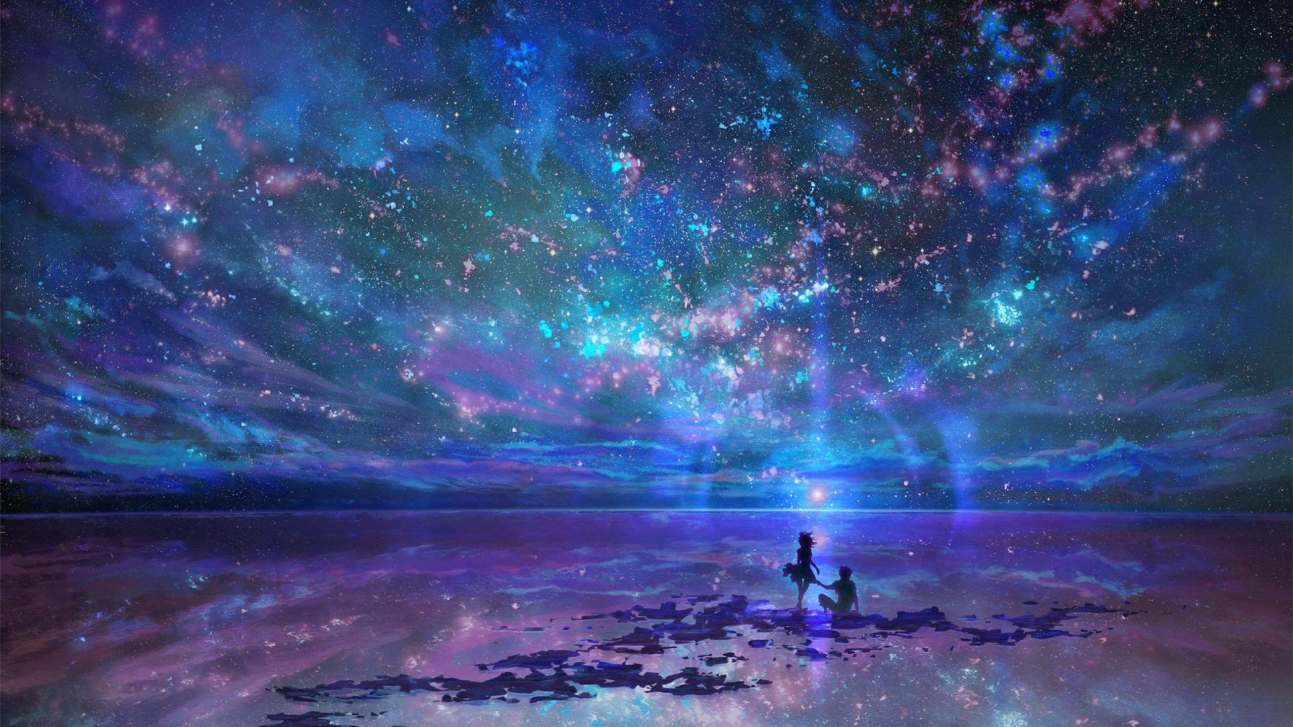 Anime Couple, Scenic, Stars, Night, Sky, Silhouette