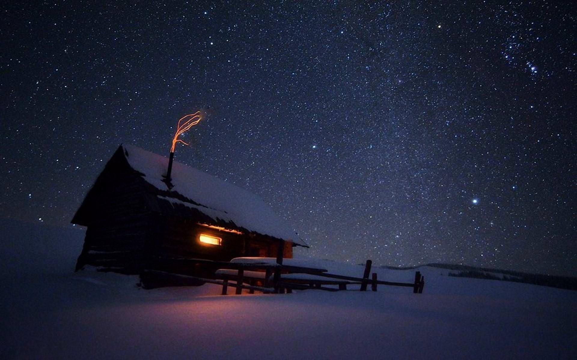 Winter Night Stars wallpaper HD desktop.