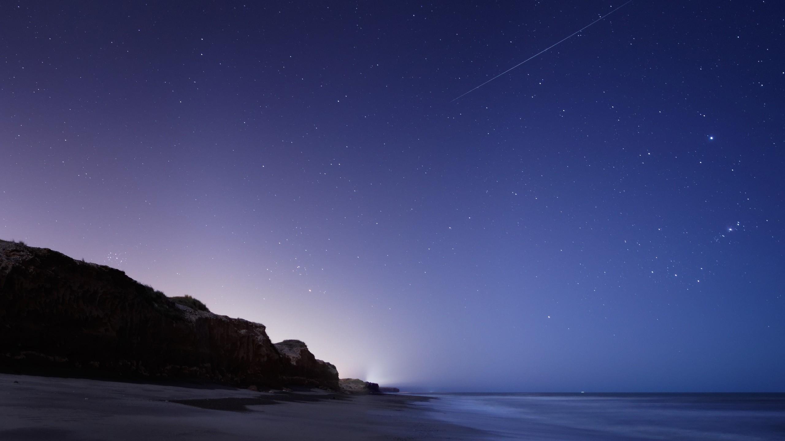 Wallpaper stars, night, twilight, the sky, falling, the sea,