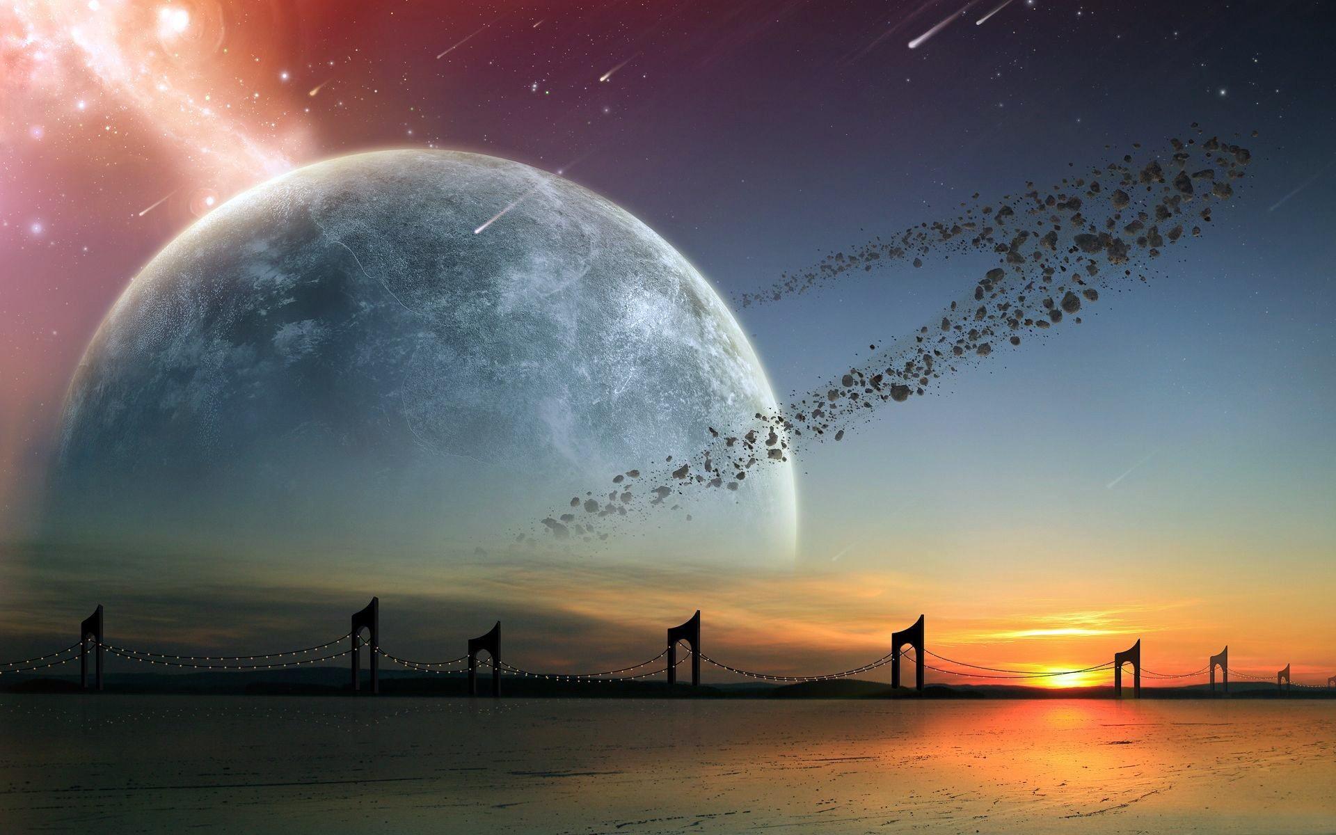 Planet Stars Asteroids Bridge Alien Landscape wallpaper | .