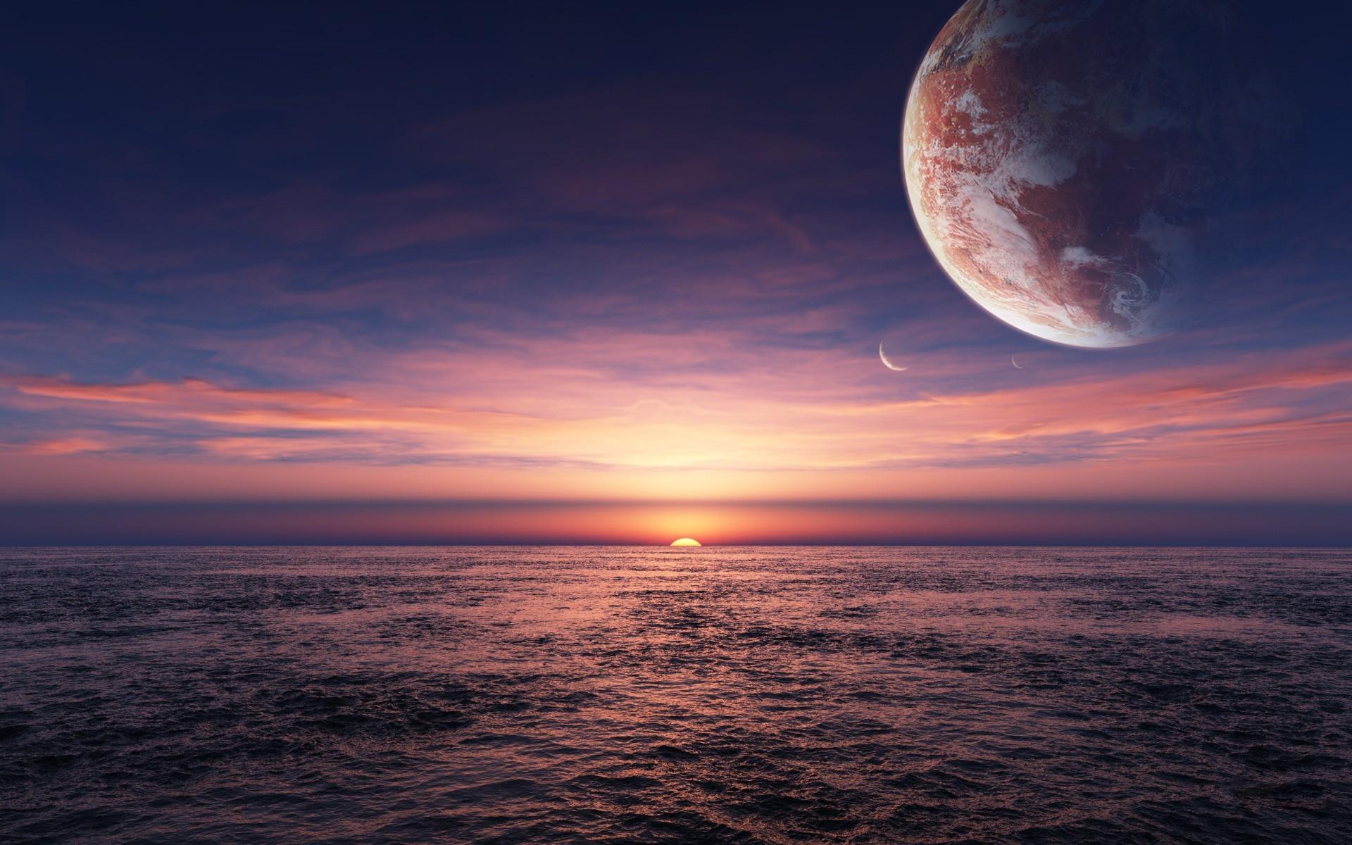 Water Ocean Sun Sea Planets Alien Landscapes Wallpaper At 3d Wallpapers