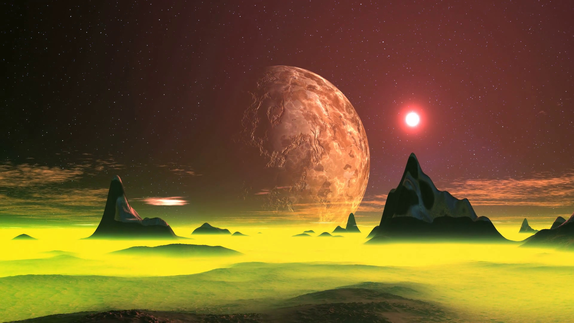 On a dark starry sky rotates huge planet. Bright sun in an orange halo  quickly sets over the horizon of an alien planet. Desert landscape covered  with …