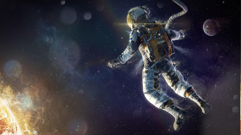 artwork, Fantasy Art, Astronaut, Space, Stars, Sun, Digital Art .