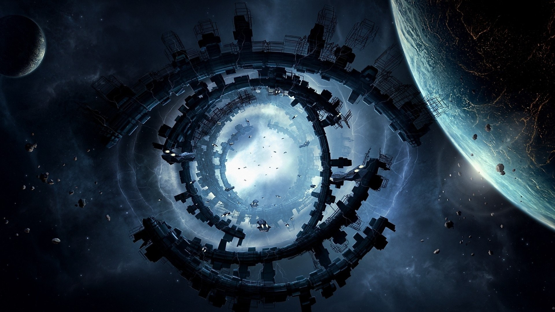 eyes outer space planets Moon ships buildings fantasy art spaceships space  station structure moons Big Bang