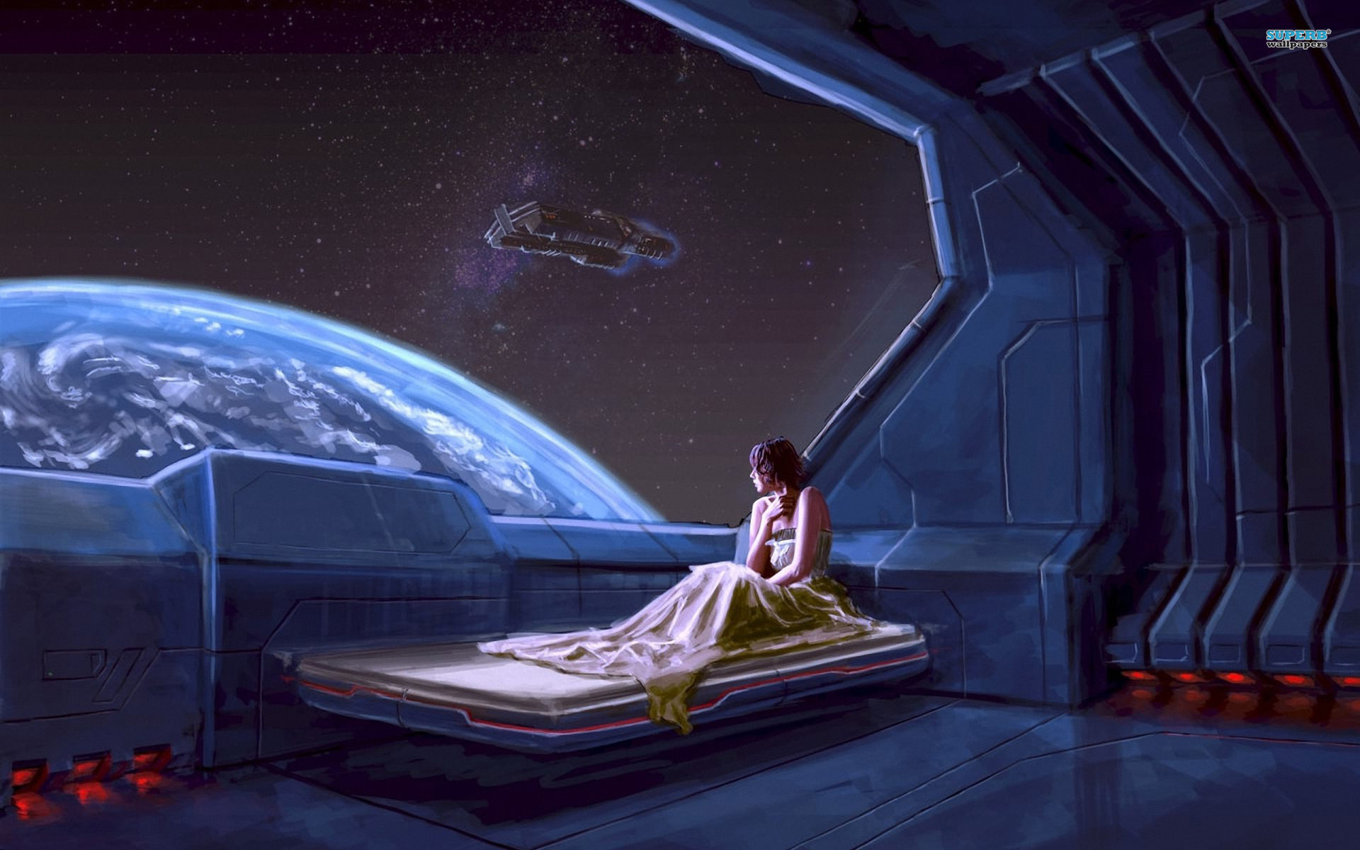 Girl in a spaceship wallpaper – Fantasy wallpapers –