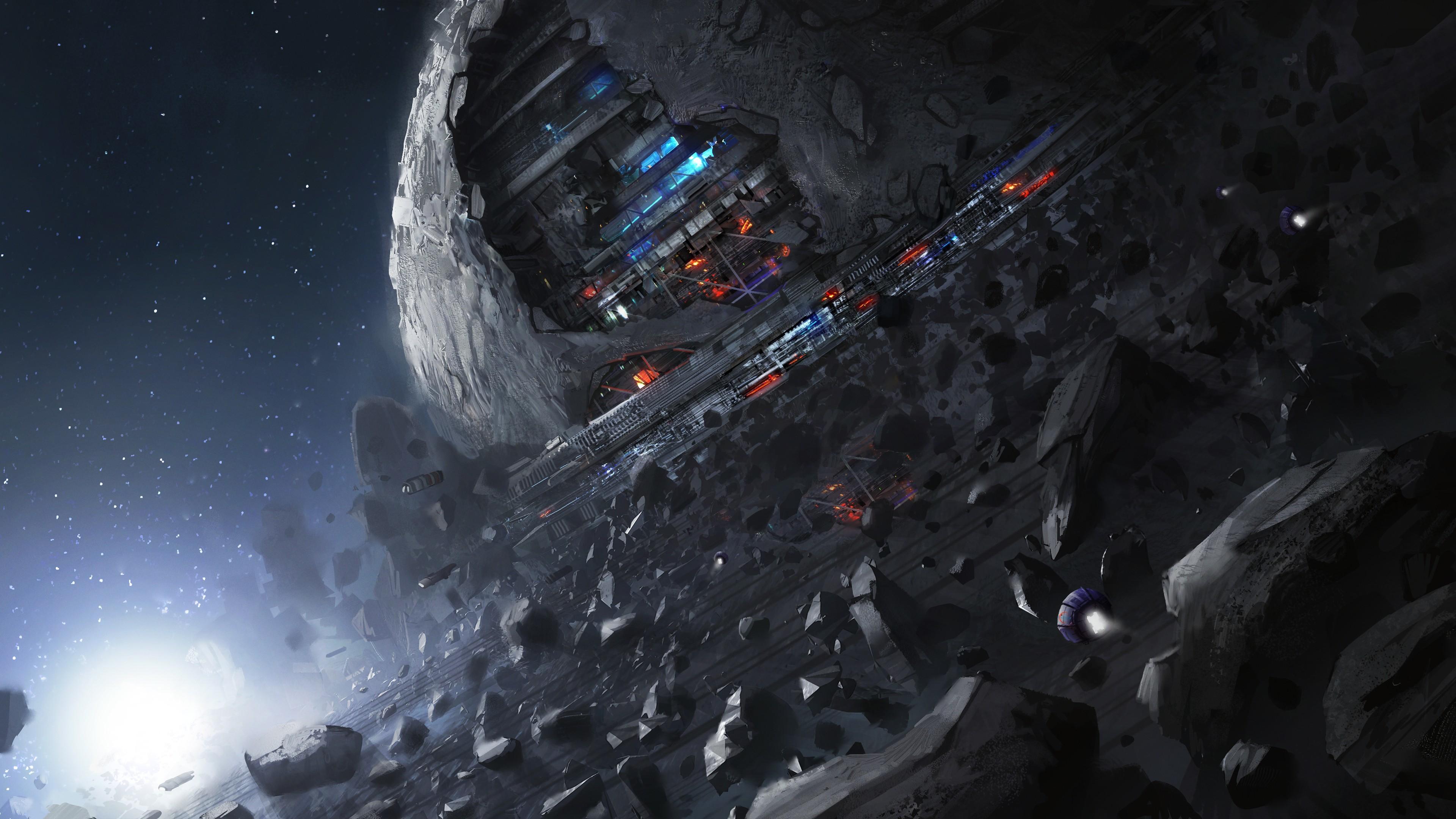 digital art, Fantasy art, Space, Universe, Rock, Moon, Planet, Stars,  Spacestation, Building, Science fiction, Futuristic Wallpapers HD / Desktop  and Mobile …