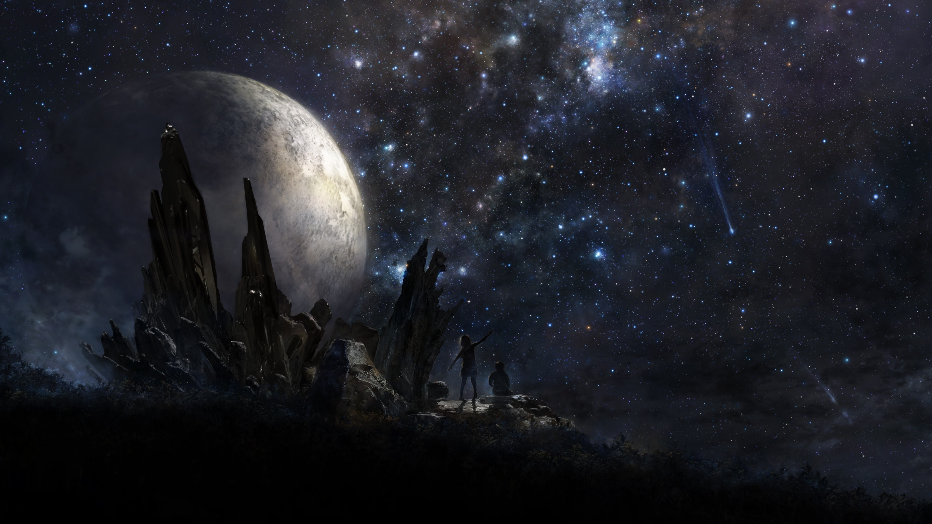 Preview wallpaper stars, people, planet, art 3840×2160