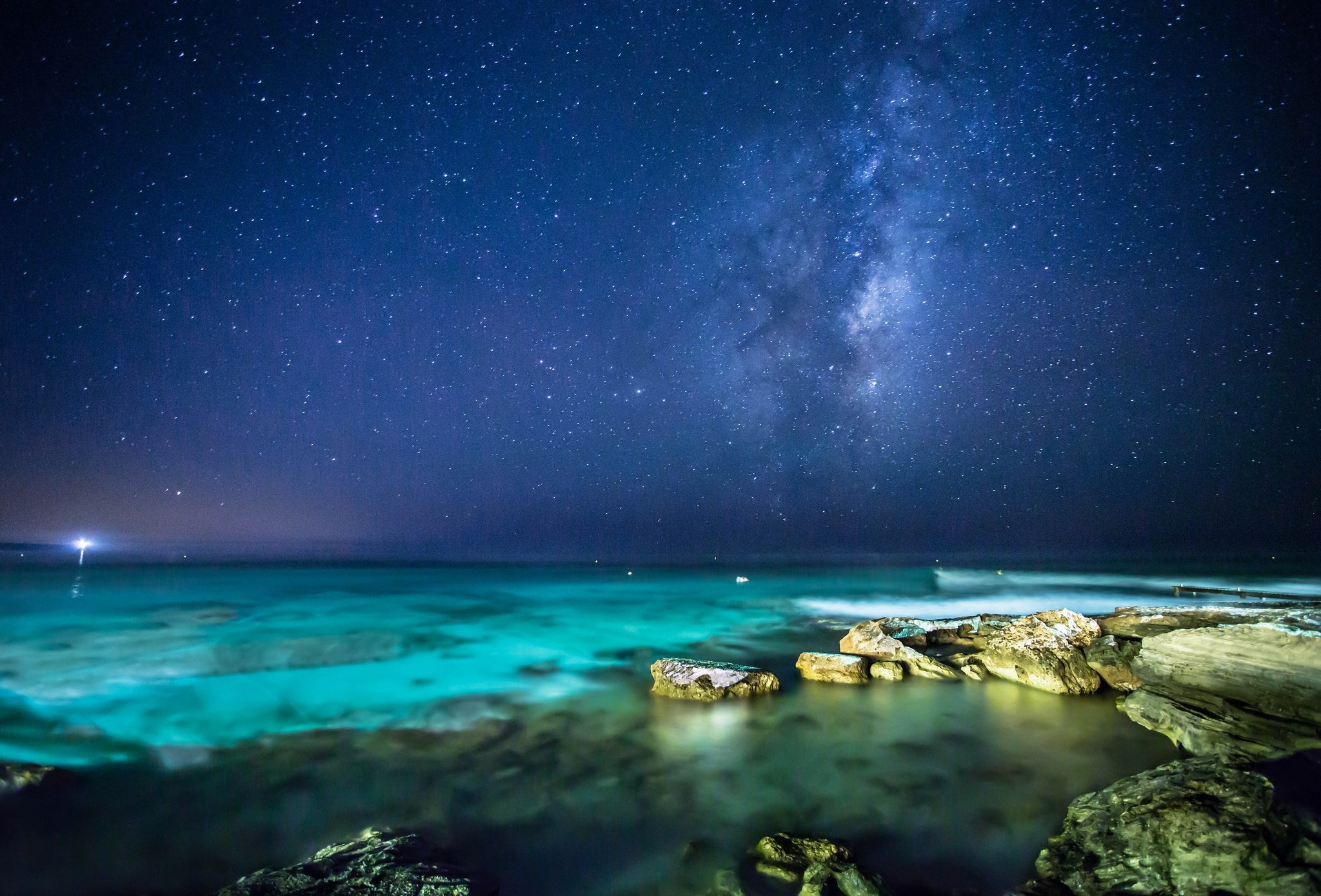 landscape, Sea, Night, Stars Wallpapers HD / Desktop and Mobile Backgrounds