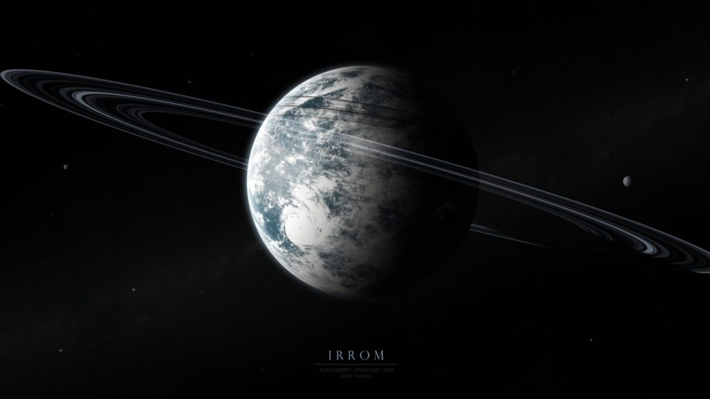 Preview wallpaper irrom, space, planets, moons, stars 3840×2160