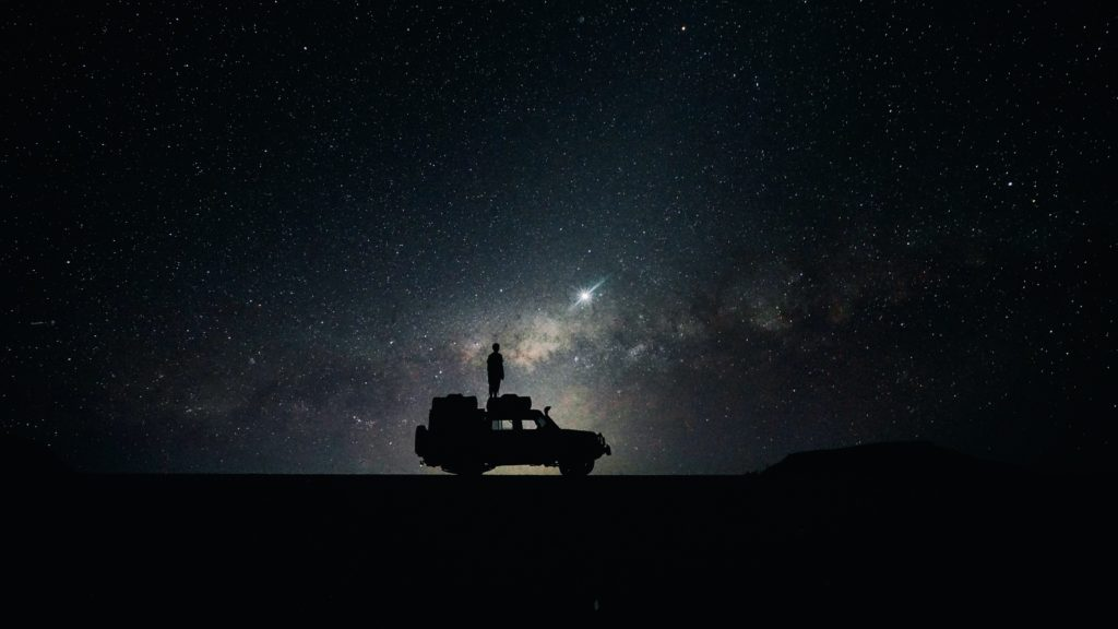 Wallpaper stars, sky, space, car
