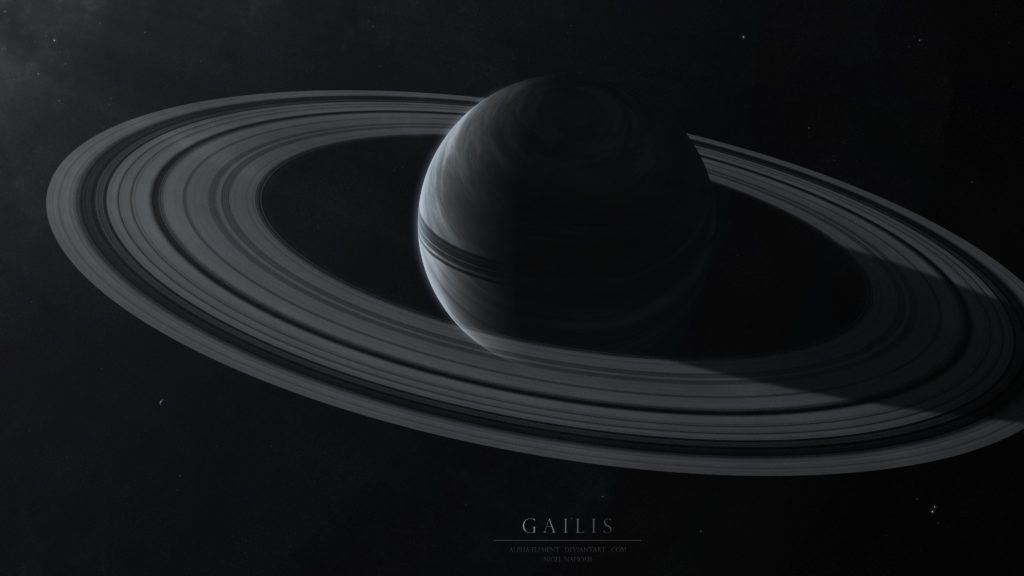Wallpaper gailis, planet, rings, stars, space
