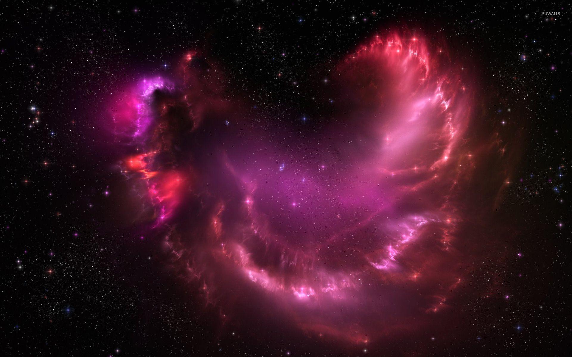 Beautiful sparkly pink nebula wallpaper