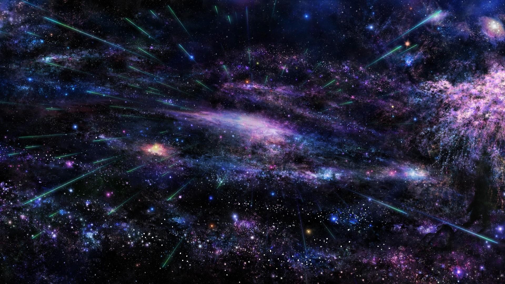 universe, violet blue cluster of stars