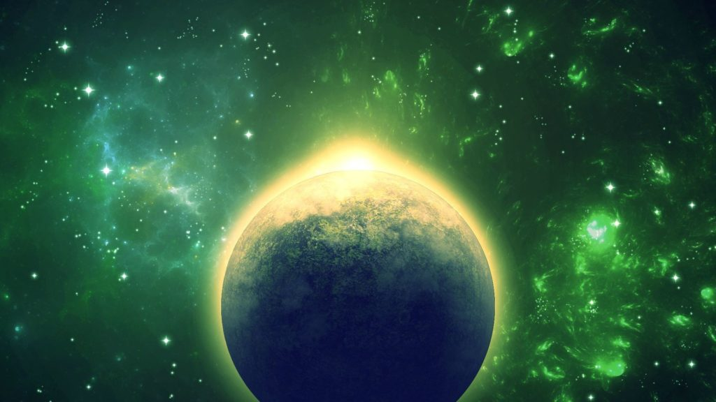 [1920×1080] Abstract Green Space Scene (X-post from /r/Wallpaper) …