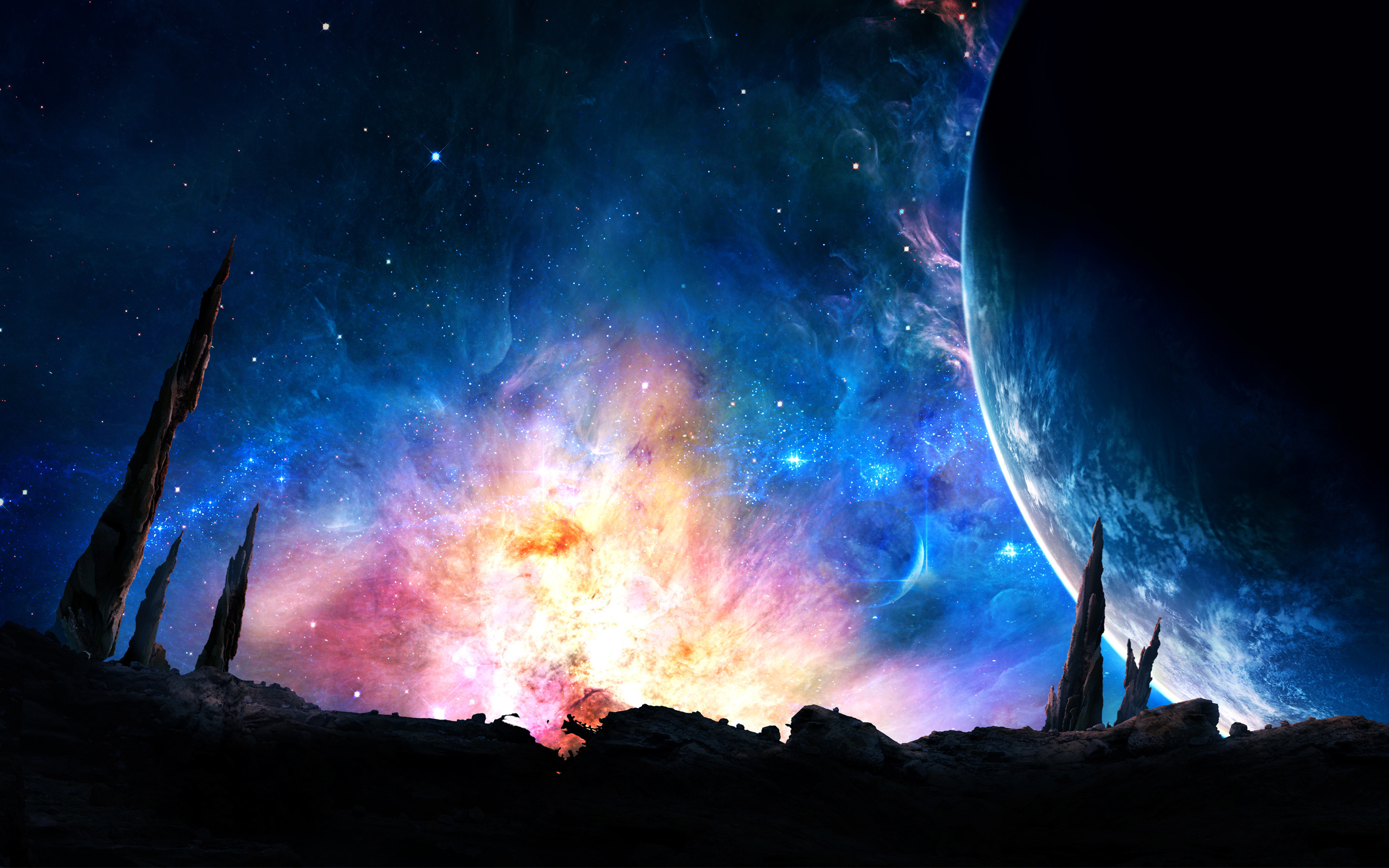 … Colorful Space Stars Nebula Stone Pillars Abstract HD wallpaper for free