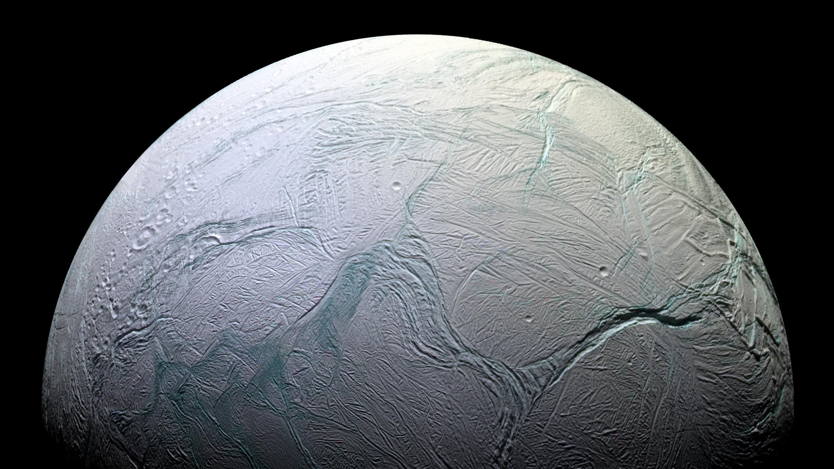 Enceladus' active south polar region in October 2008