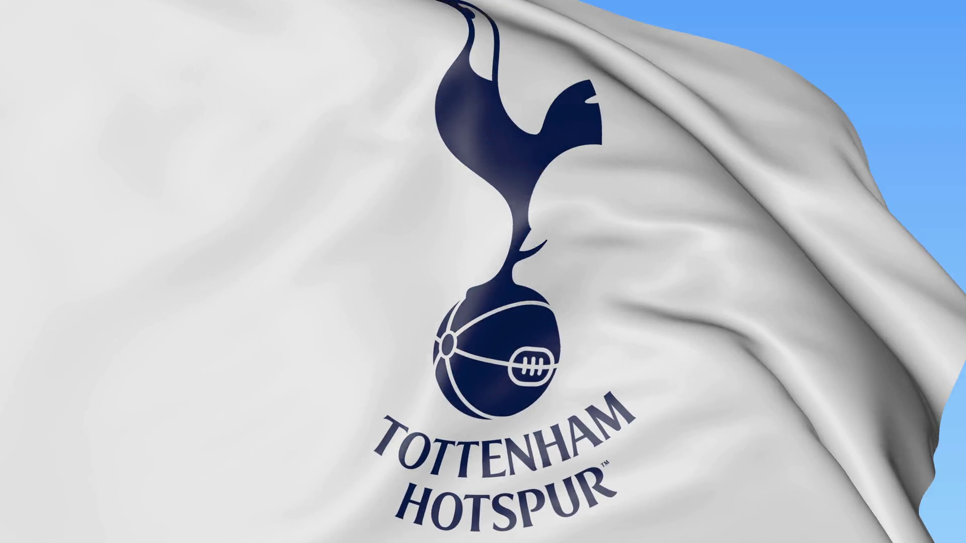 Close-up of waving flag with Tottenham Hotspur F. C. football club logo,  seamless loop, blue background. Editorial animation.