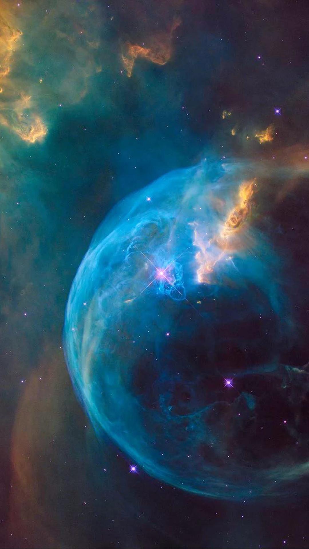 Supernova Blue Bubble Explosion Hubble Android Wallpaper