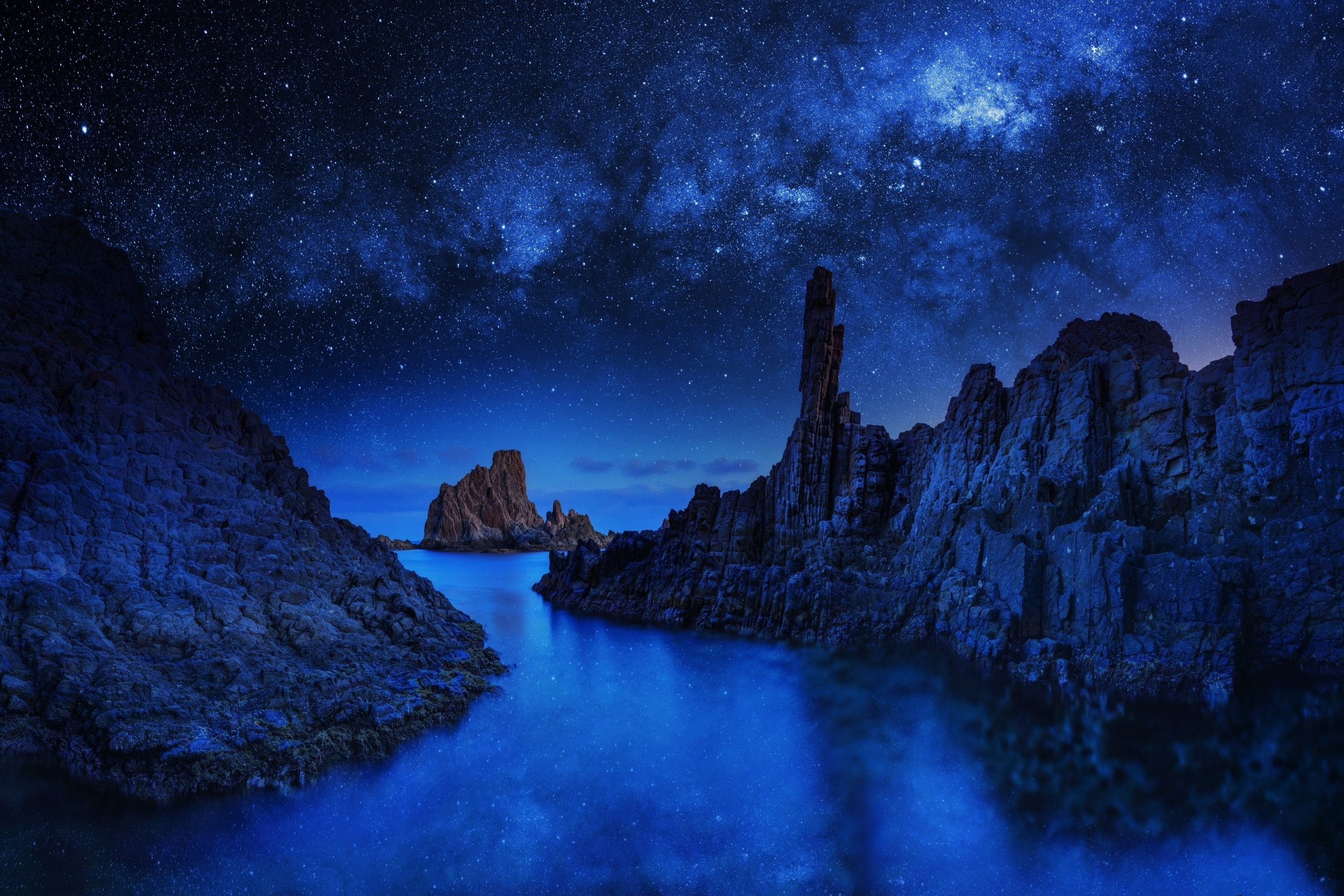 river ocean sea stars sky blue night mood reflection wallpaper .