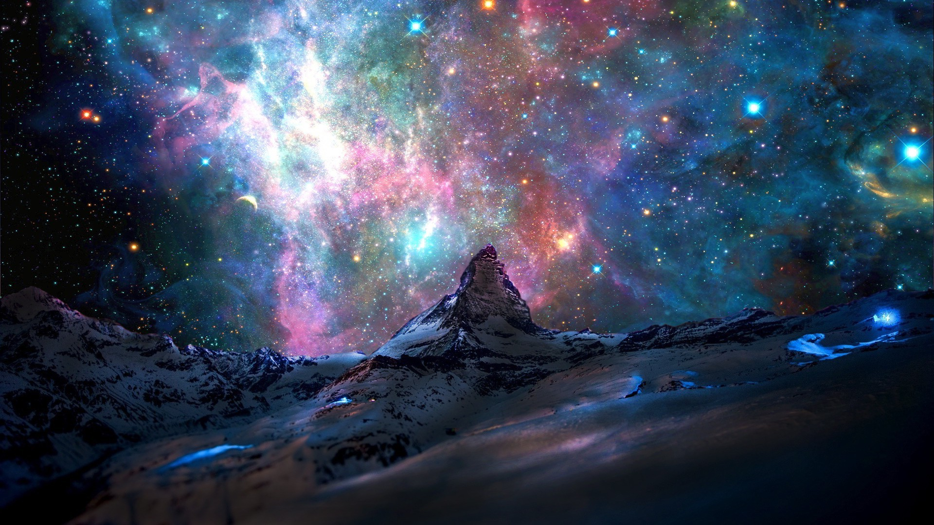 stars, Mountain, Space, Nebula, Landscape Wallpapers HD / Desktop and  Mobile Backgrounds