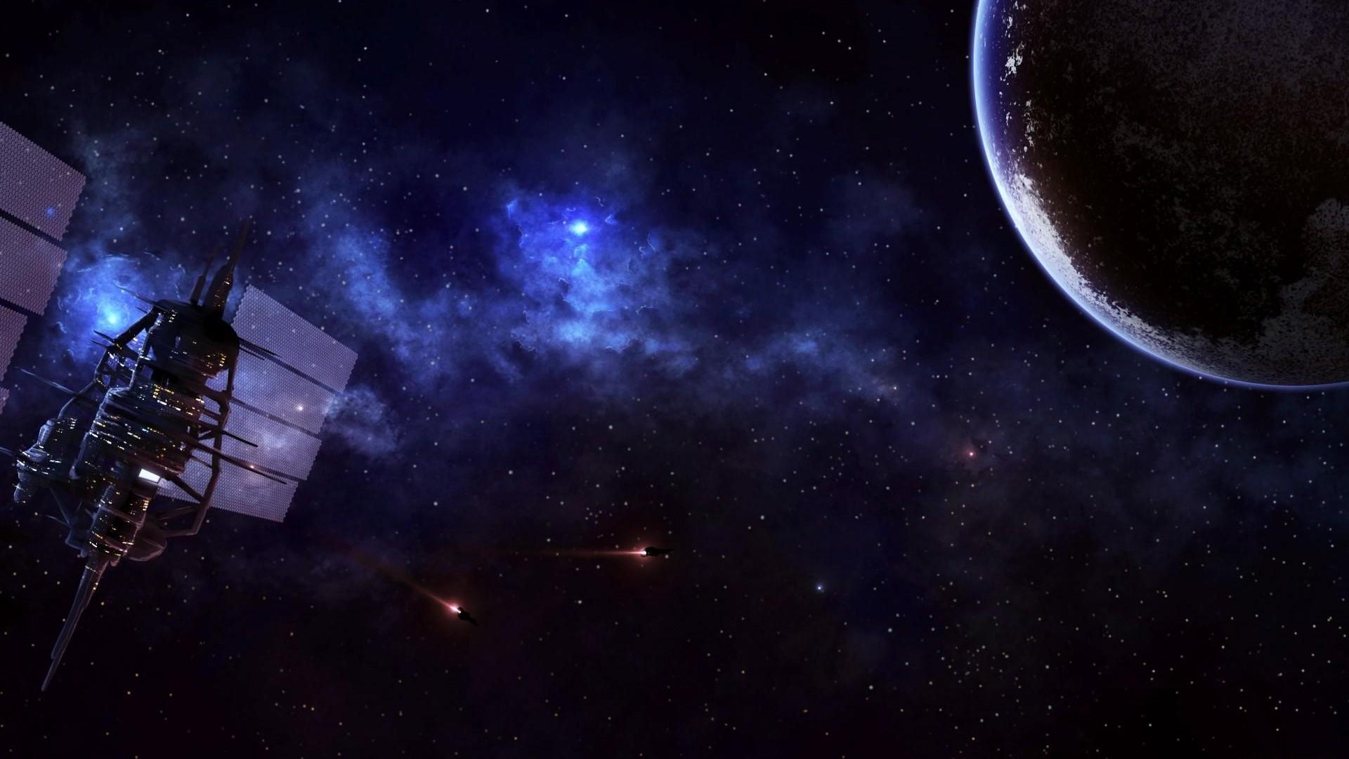 Preview wallpaper satellite, planet, universe, stars, nebula 1920×1080