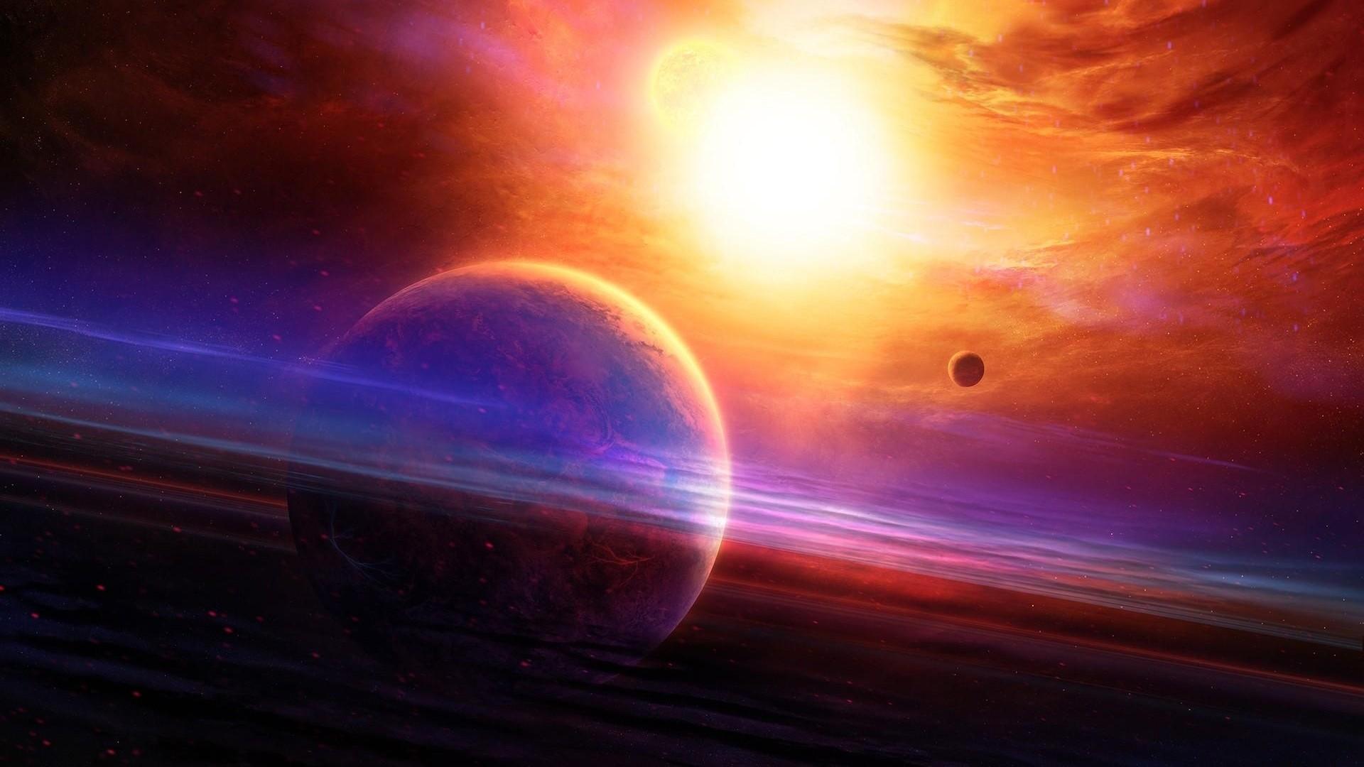 Wallpaper planet, haze, light, nebula