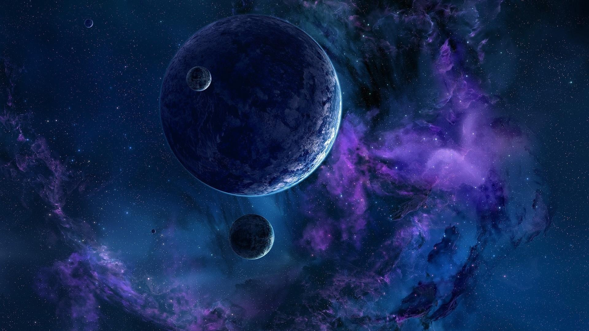 Preview wallpaper planets, stars, nebula, universe 1920×1080